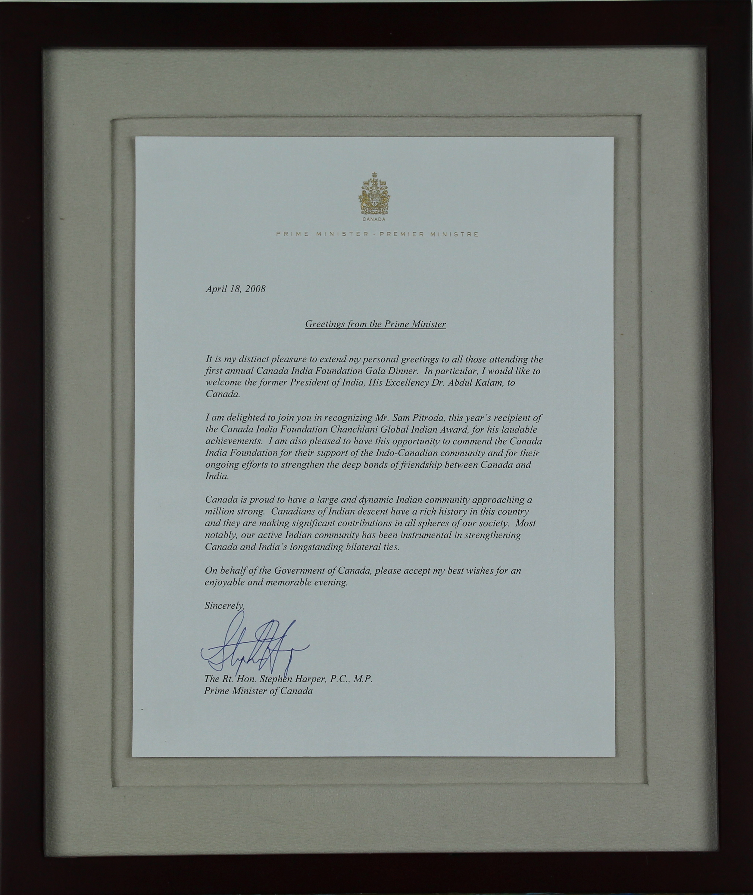 Greetings to  Sam Pitroda, Prime Minister of Canada, 2008
