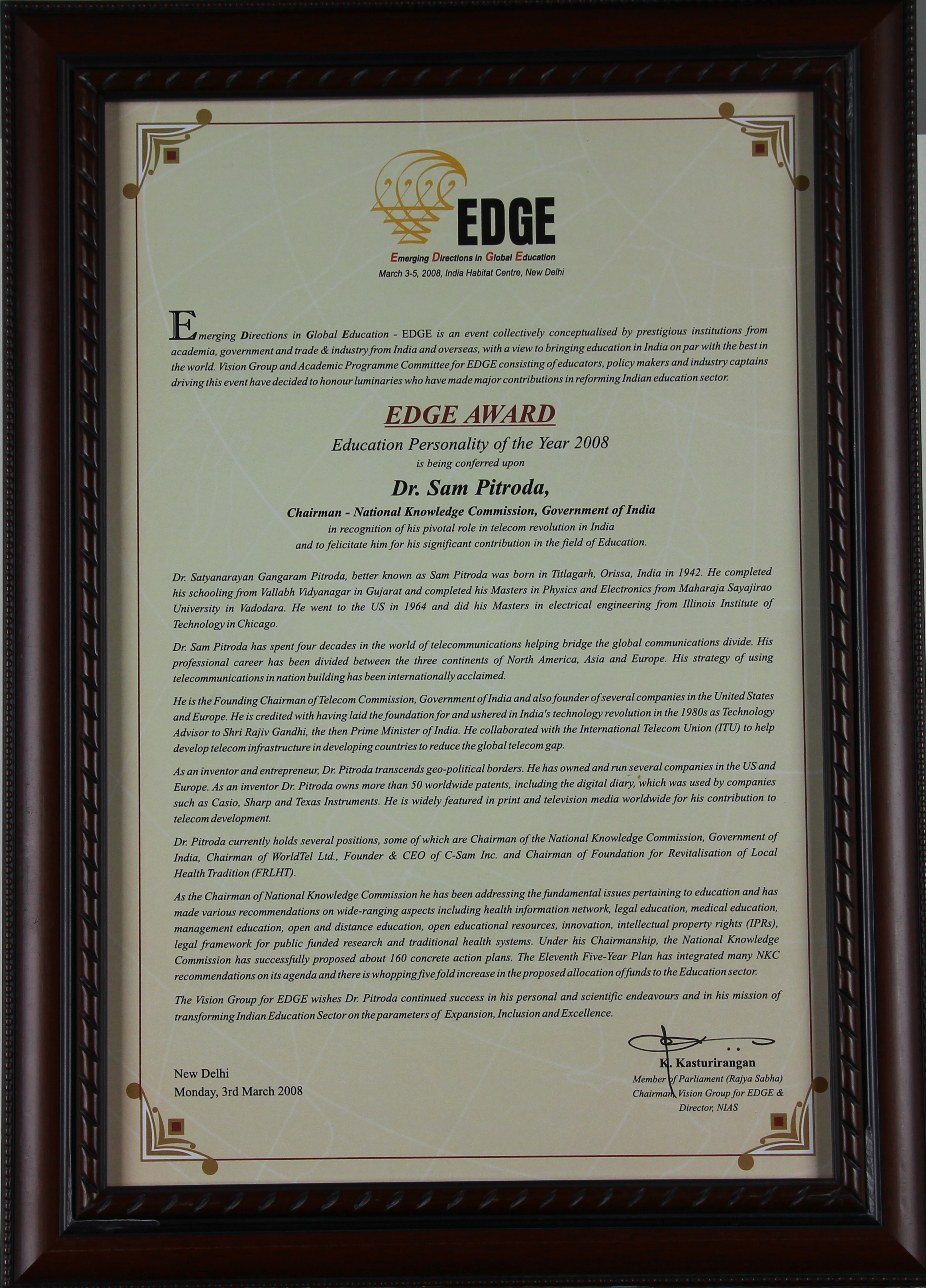 Education Personality of the Year, EDGE – Emerging Directions in Global Education, 2008