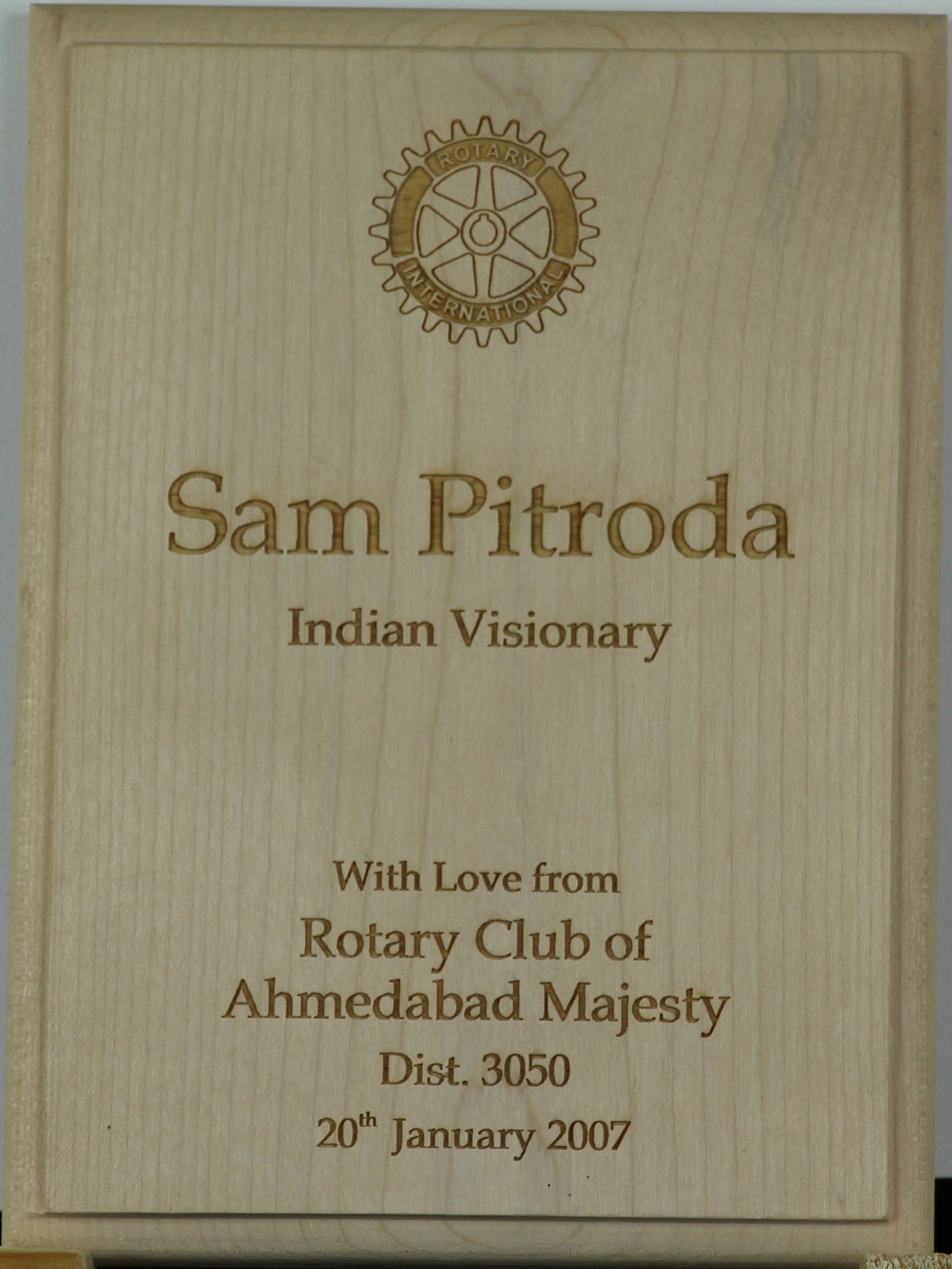 Indian Visionary Award, Rotary Club of Ahmedabad Majesty Dist. 3050, 2007