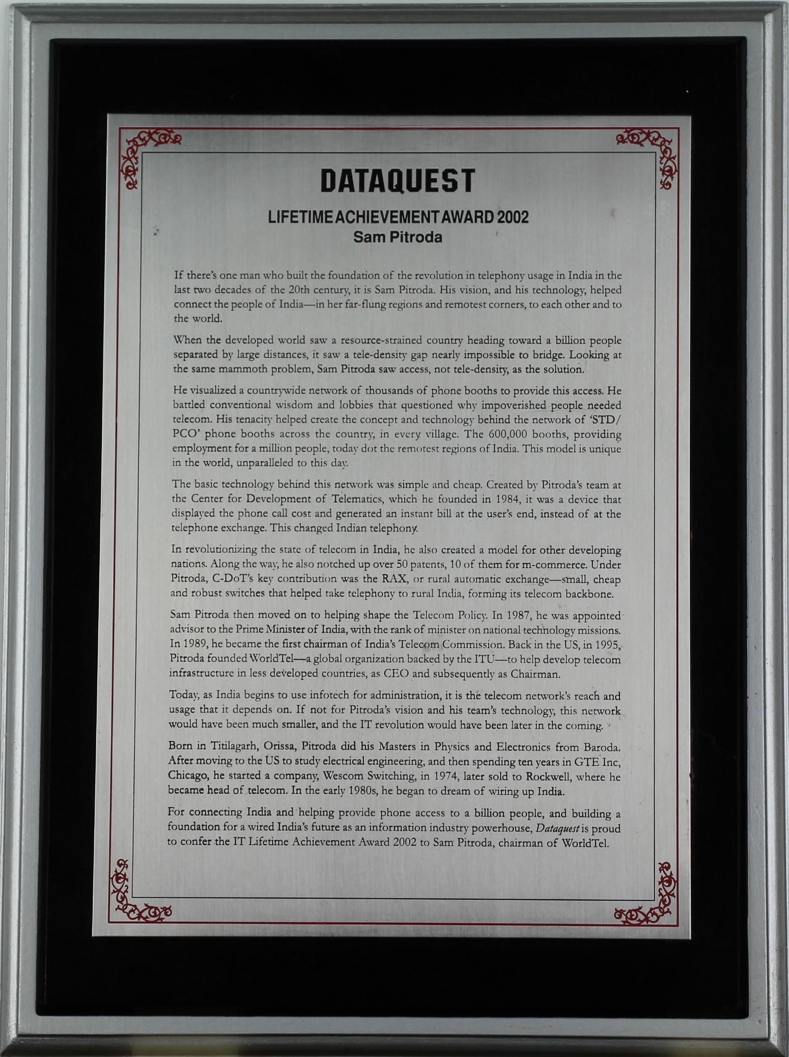 Lifetime Achievement Award, Dataquest, 2002