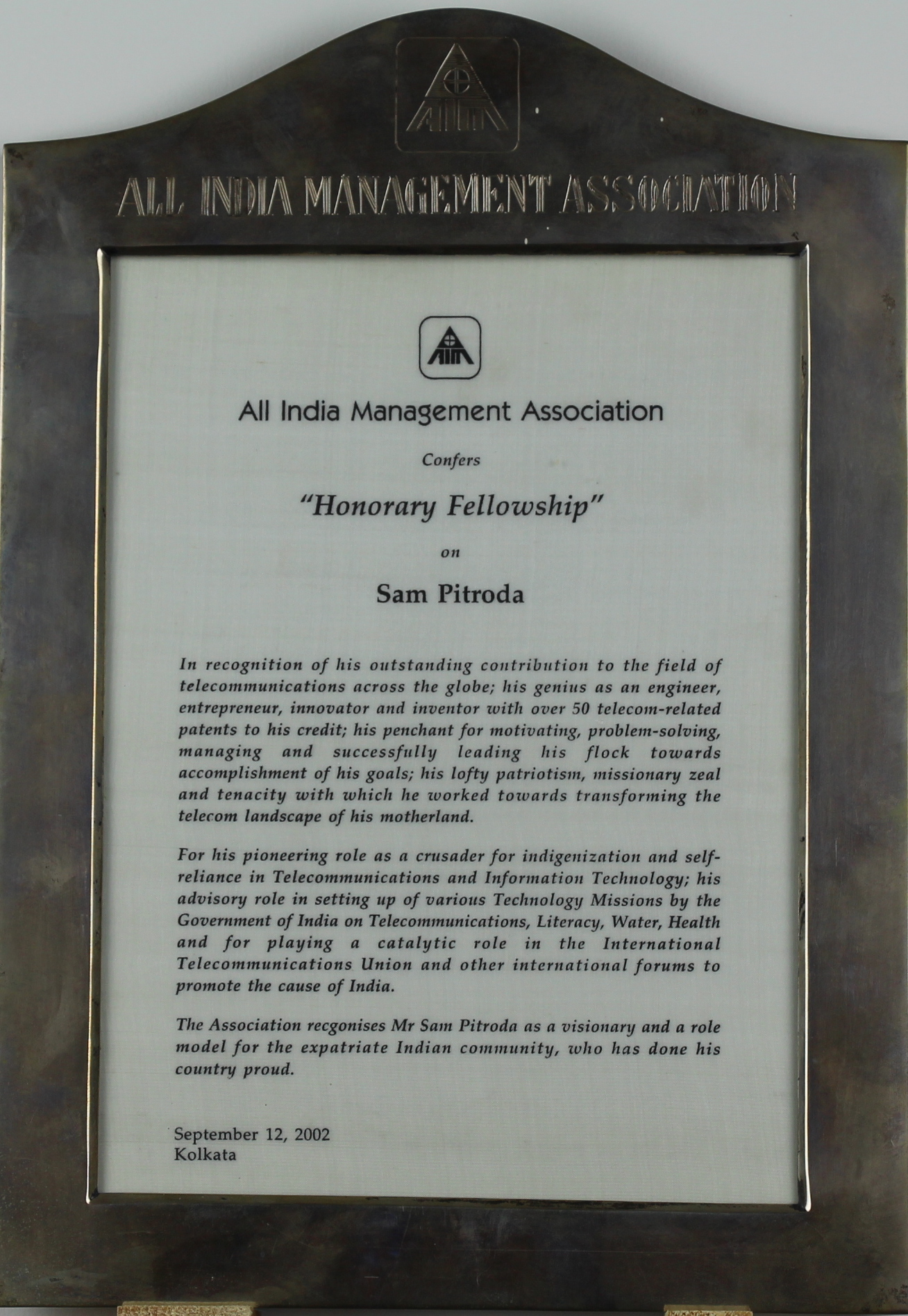 Honorary Fellowship Award, All India Management Association, 2002