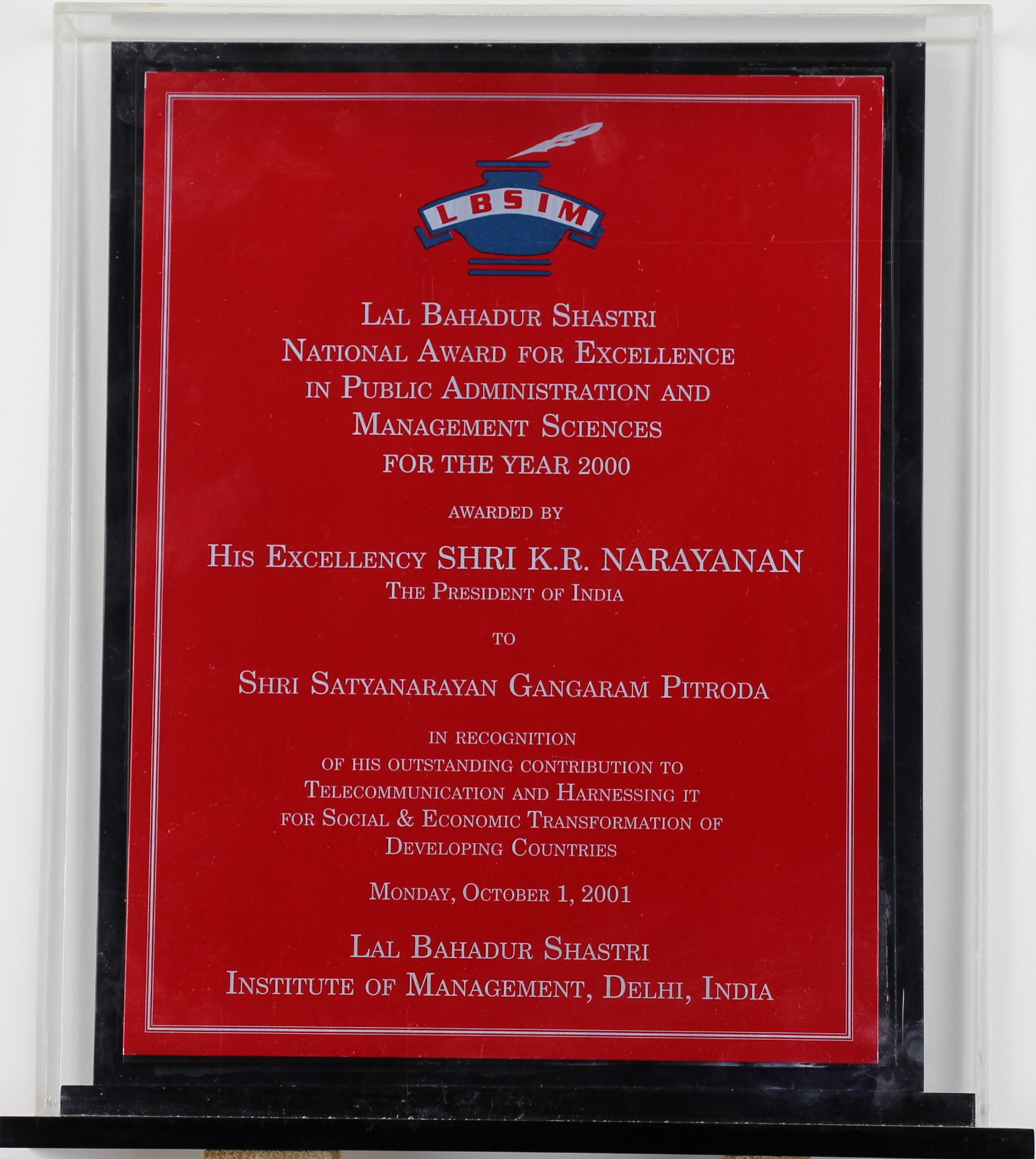 National Award, Lal Bahadur Shastri Institute of Management, 2000