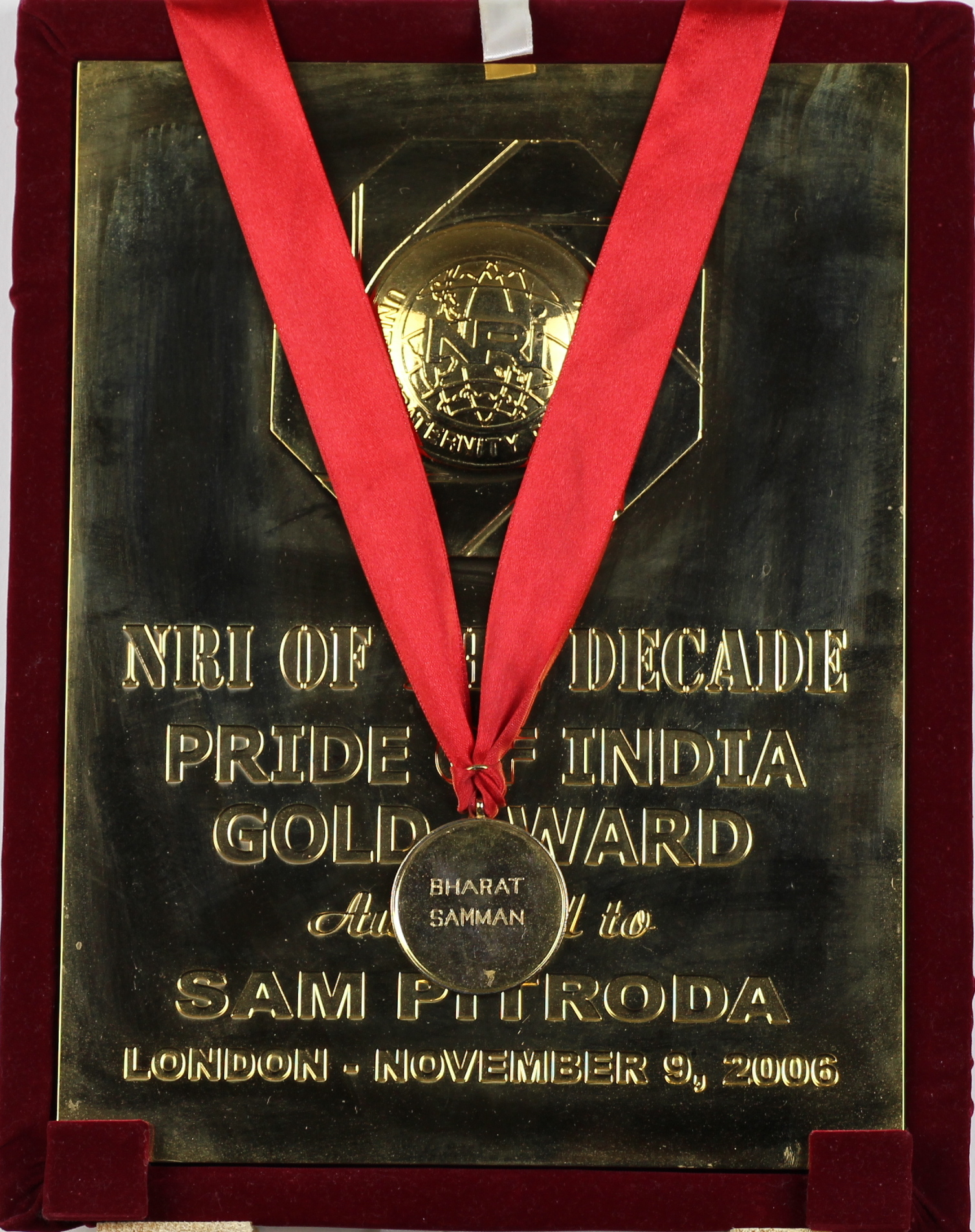 NRI of the Decade Pride of India Gold Award, 2006