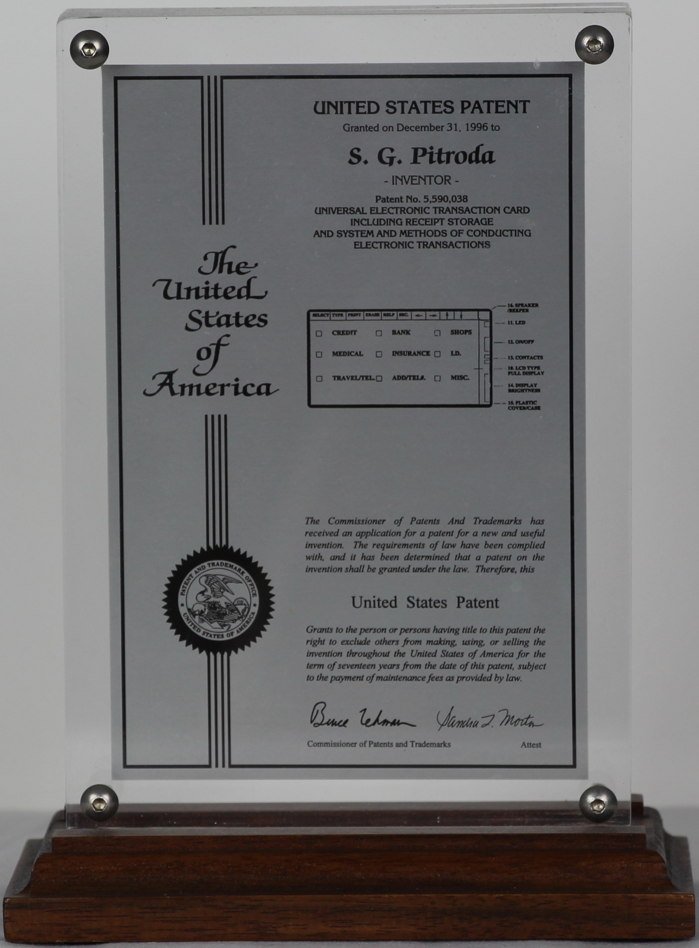 United States Patent Award 5,590,038, Universal Electronic Transaction Card, 1996