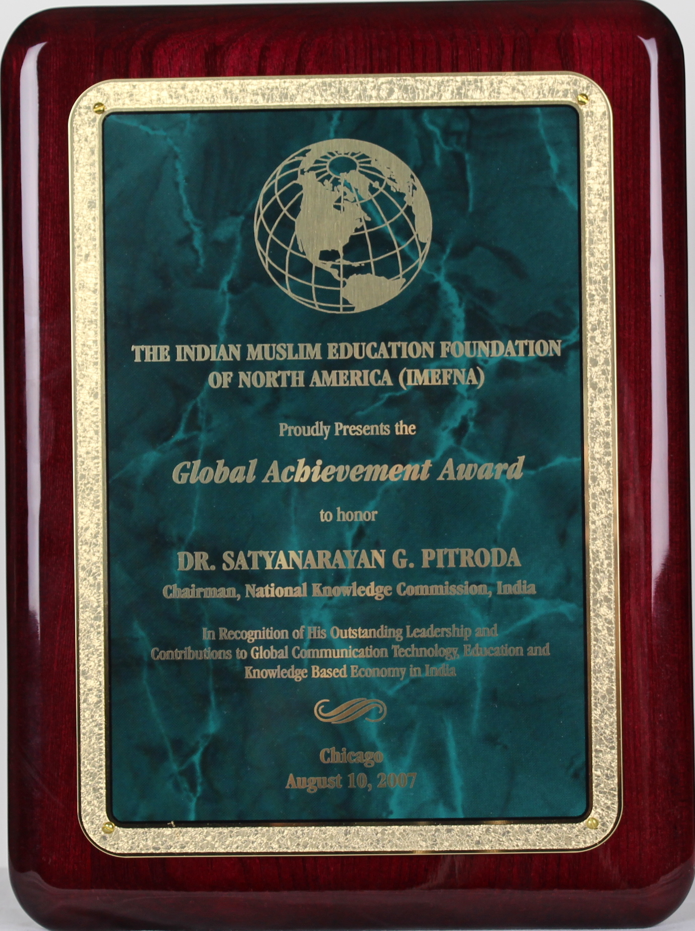 Global Achievement Award, The Indian Muslim Education Foundation of North America, 2007