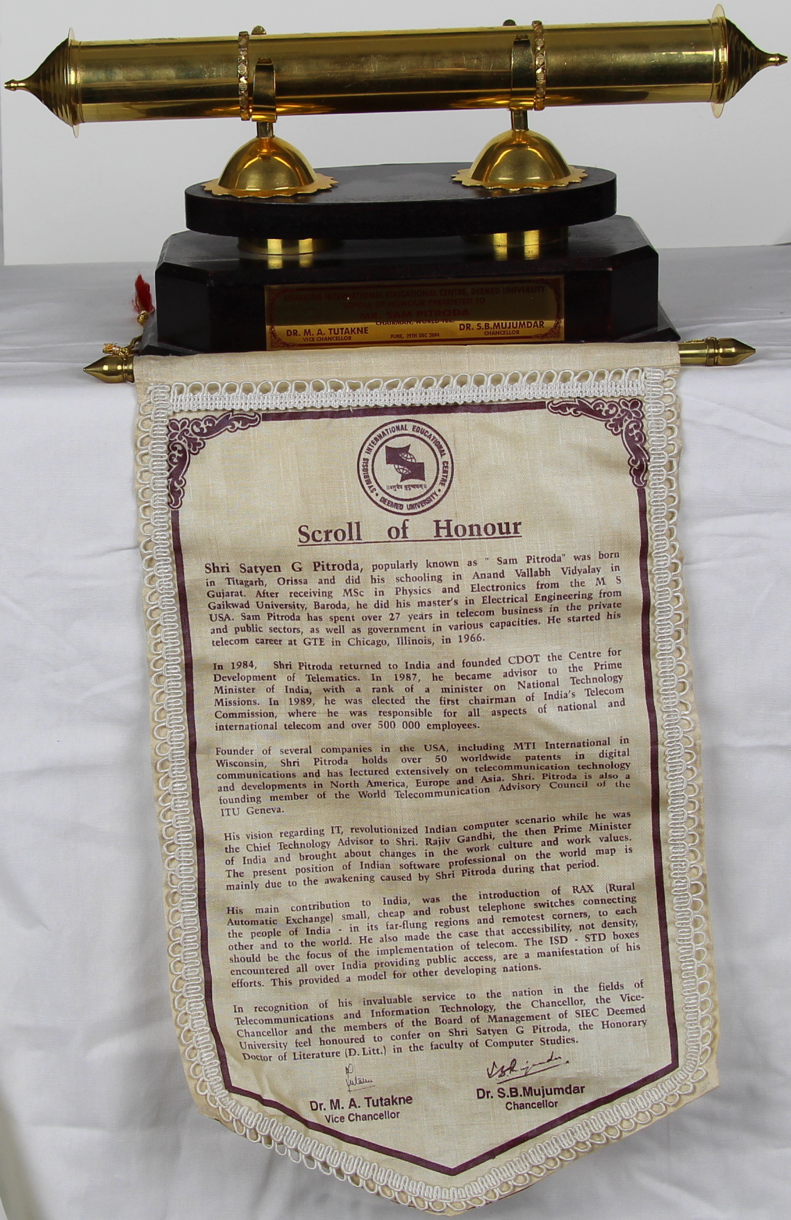 Scroll of Honor, Symbiosis International Educational Centre, Deemed University, 2004