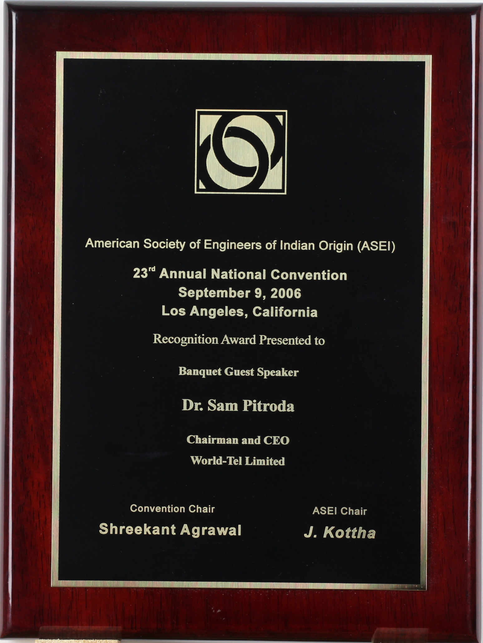 Recognition Award for Banquet Guest Speaker, 23rd National Convention, ASEI, 2006