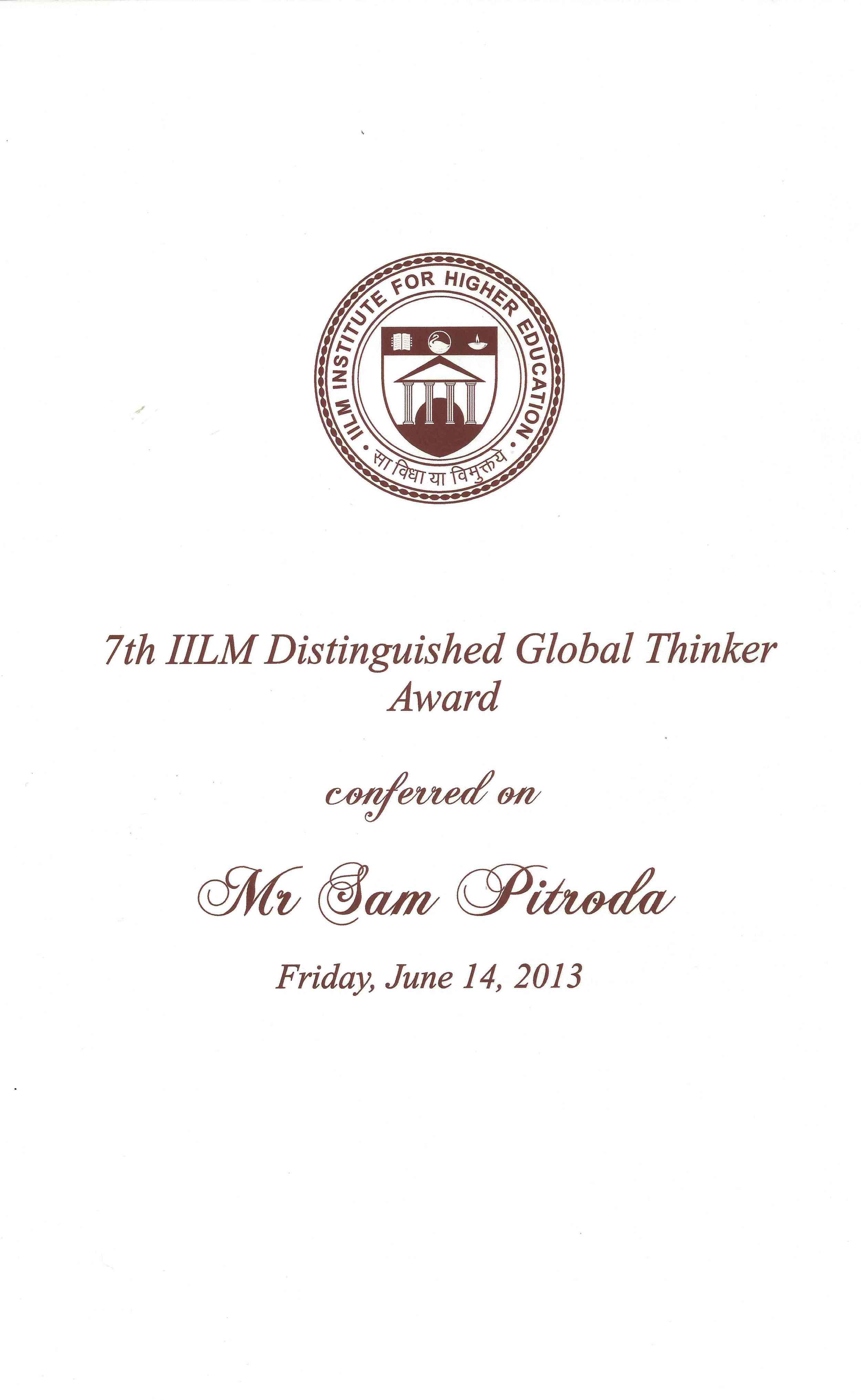 7th IILM Distinguished Global Thinker Award, IILM, 2013