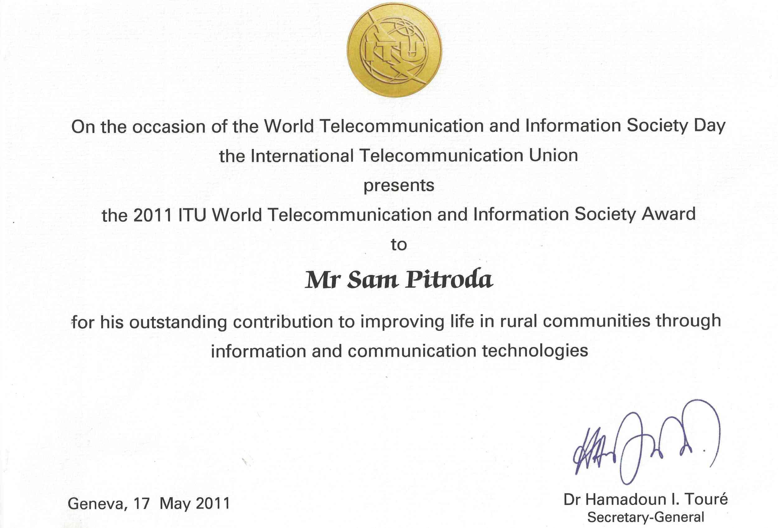 ITU World Telecommunication and Information Society Award, International Telecommunication Union, 2011