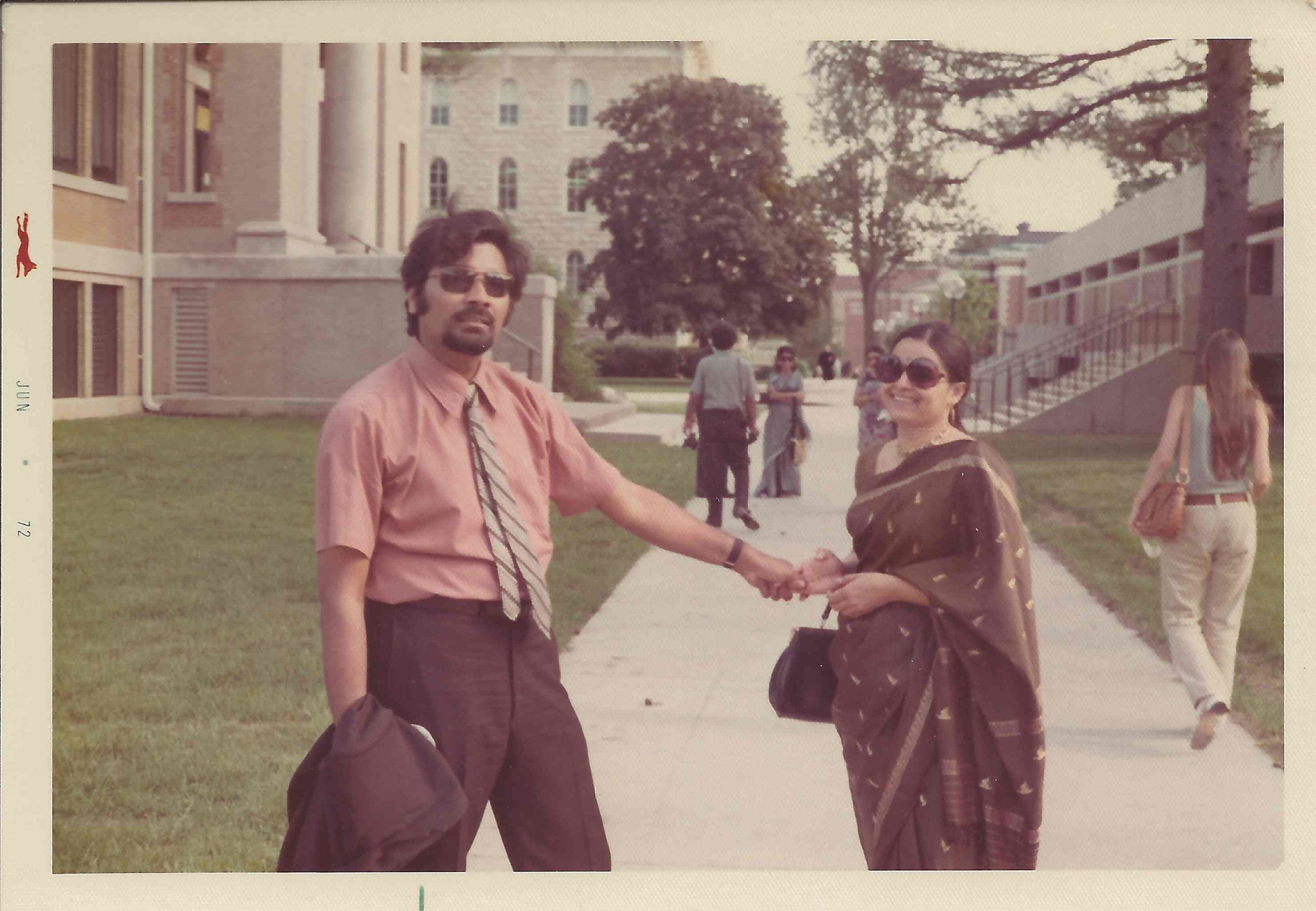 Sam and Anu at college campus, 1972