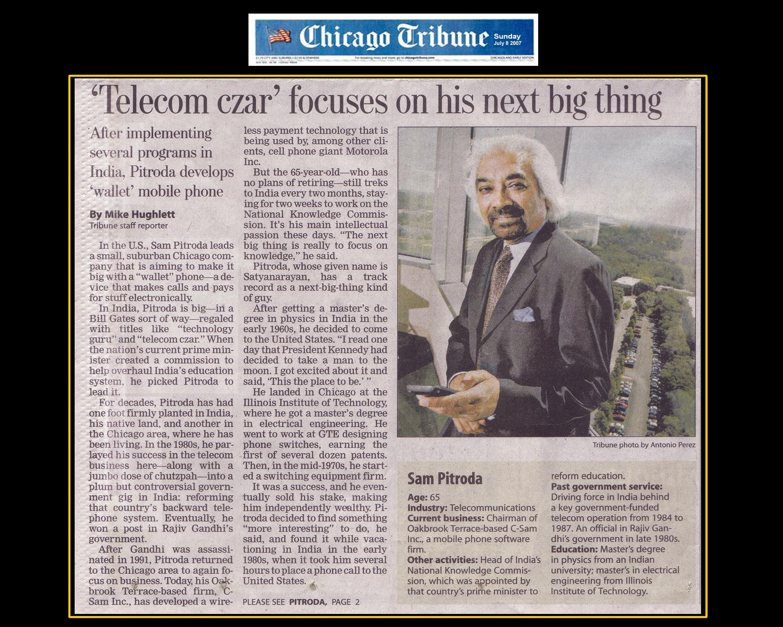"""Telecom Czar Focuses on His Next Big Thing,"" Chicago Tribune, 2007"