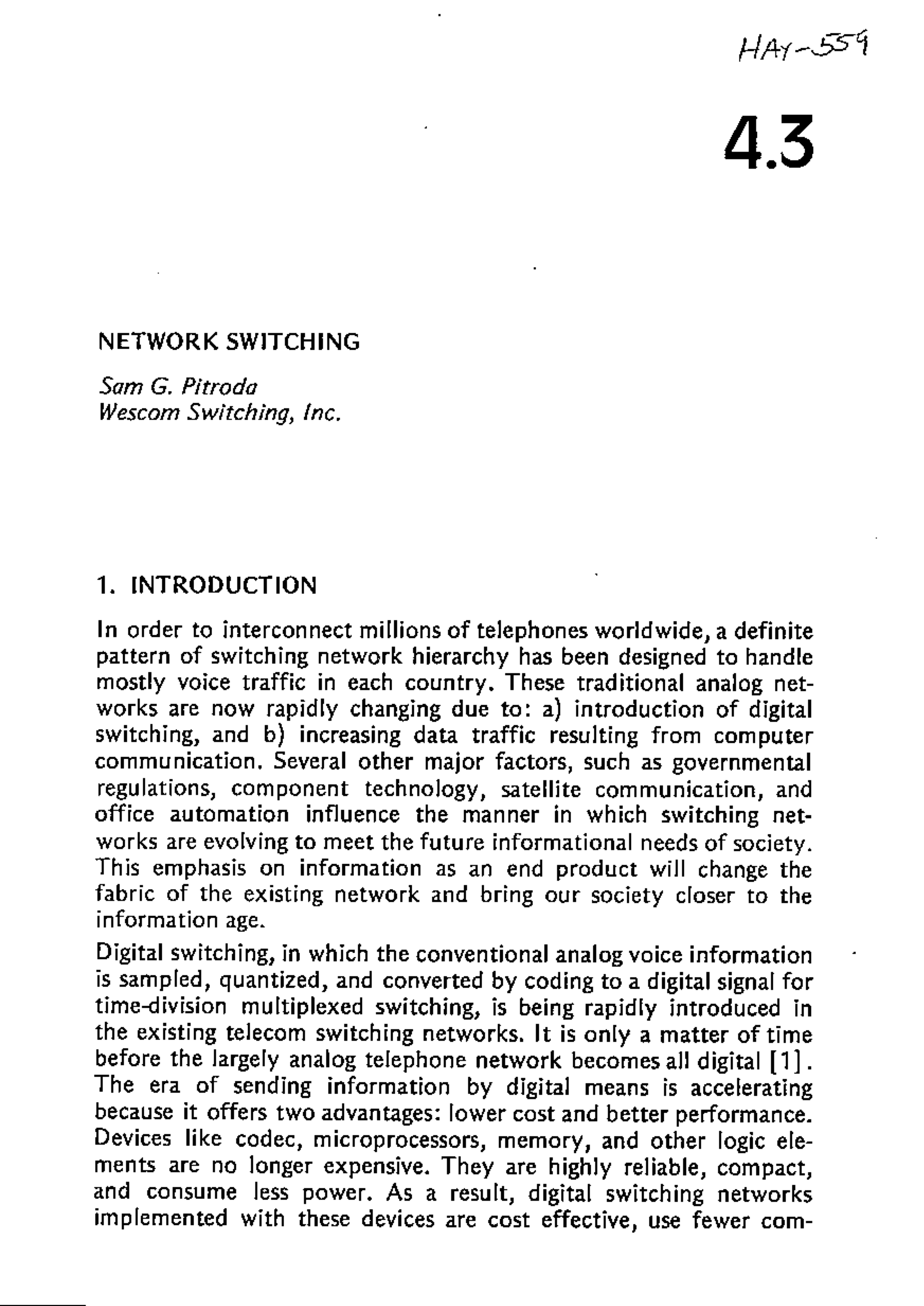 Network Switching,Wells Bindery, Waltham, MA, 1984
