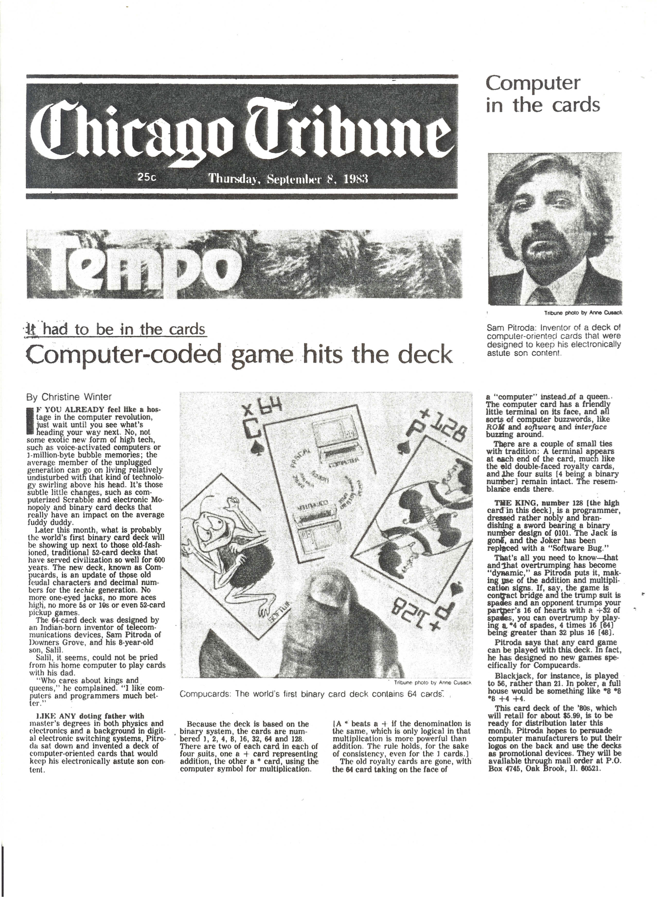 """Computer-Coded Game Hits the Deck,"" Chicago Tribune, 1983"