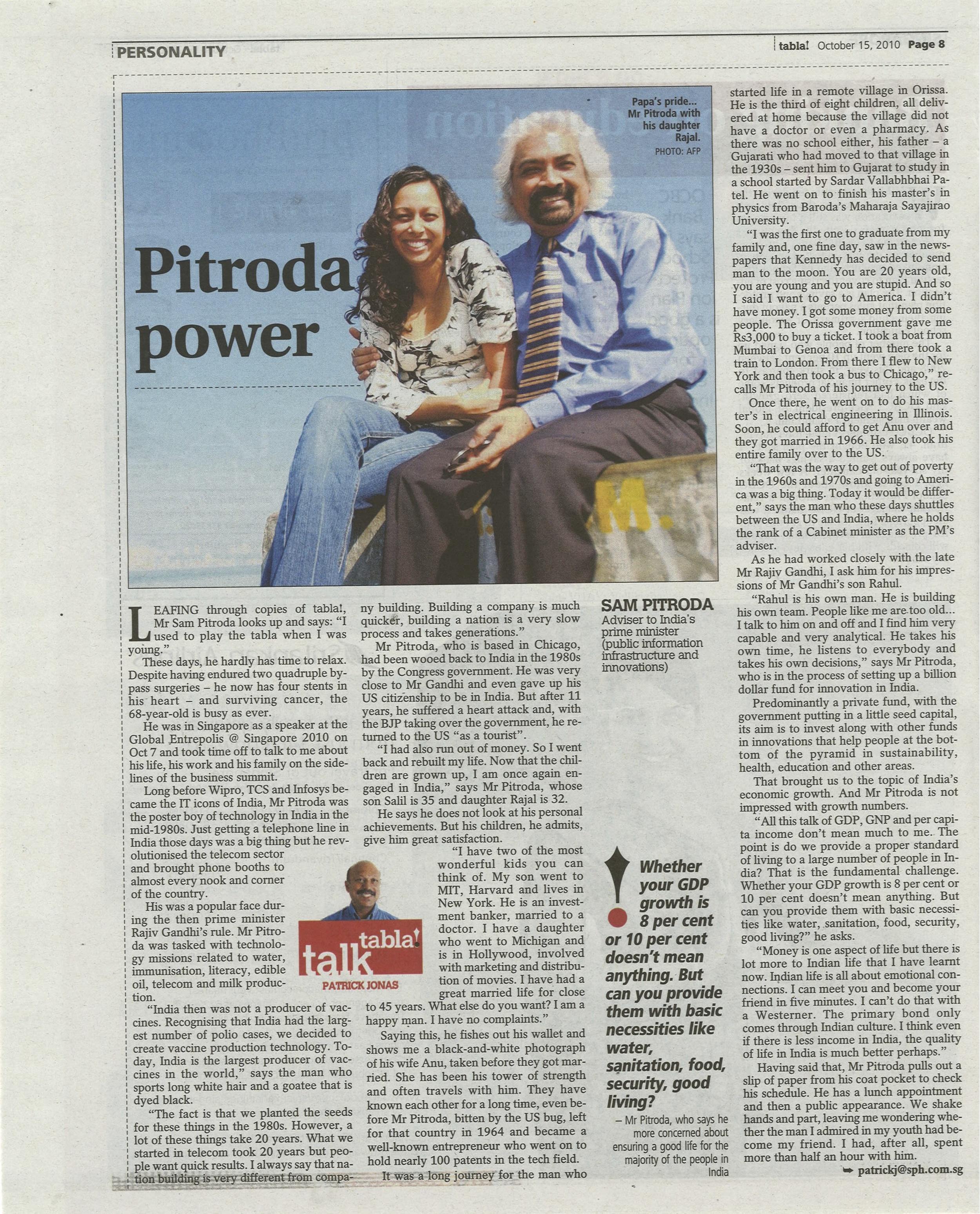 """""""Pitroda Power,"""" tabla! magazine, 2010"""
