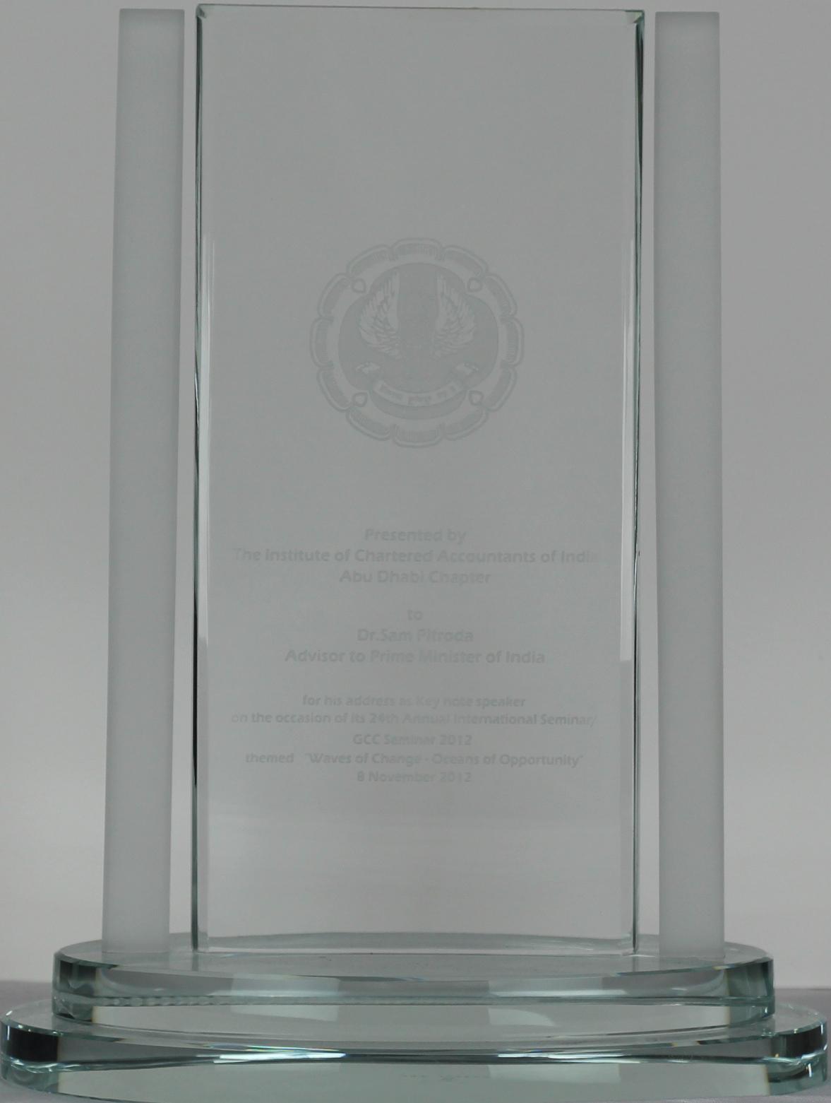 Keynote Speaker Award, Chartered Accountants of India, Abu Dhabi Chapter, 2012