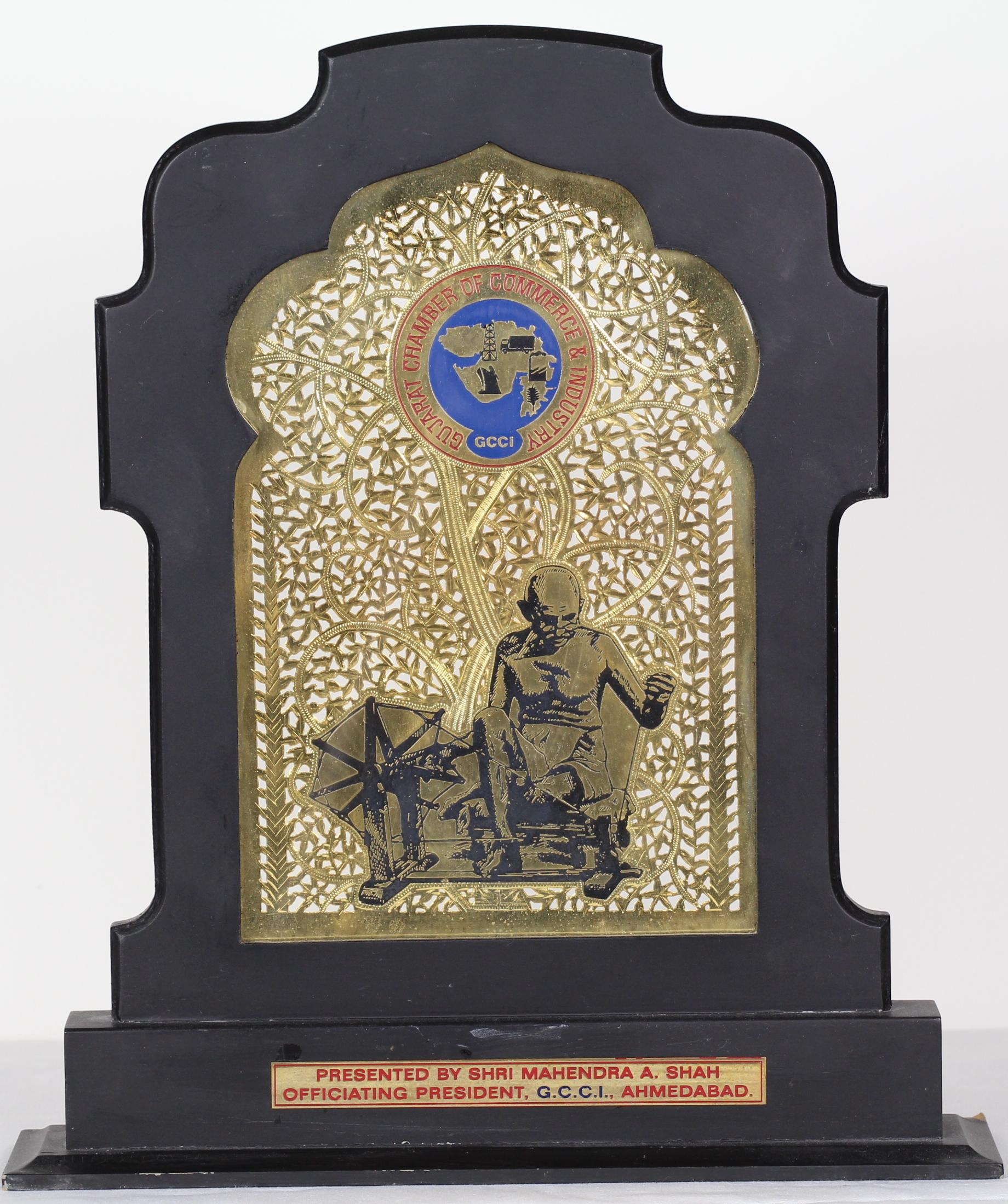 Award of Appreciation from Shri Mahendra A. Shah, Officiating President, G. C. C. I., Ahmedabad