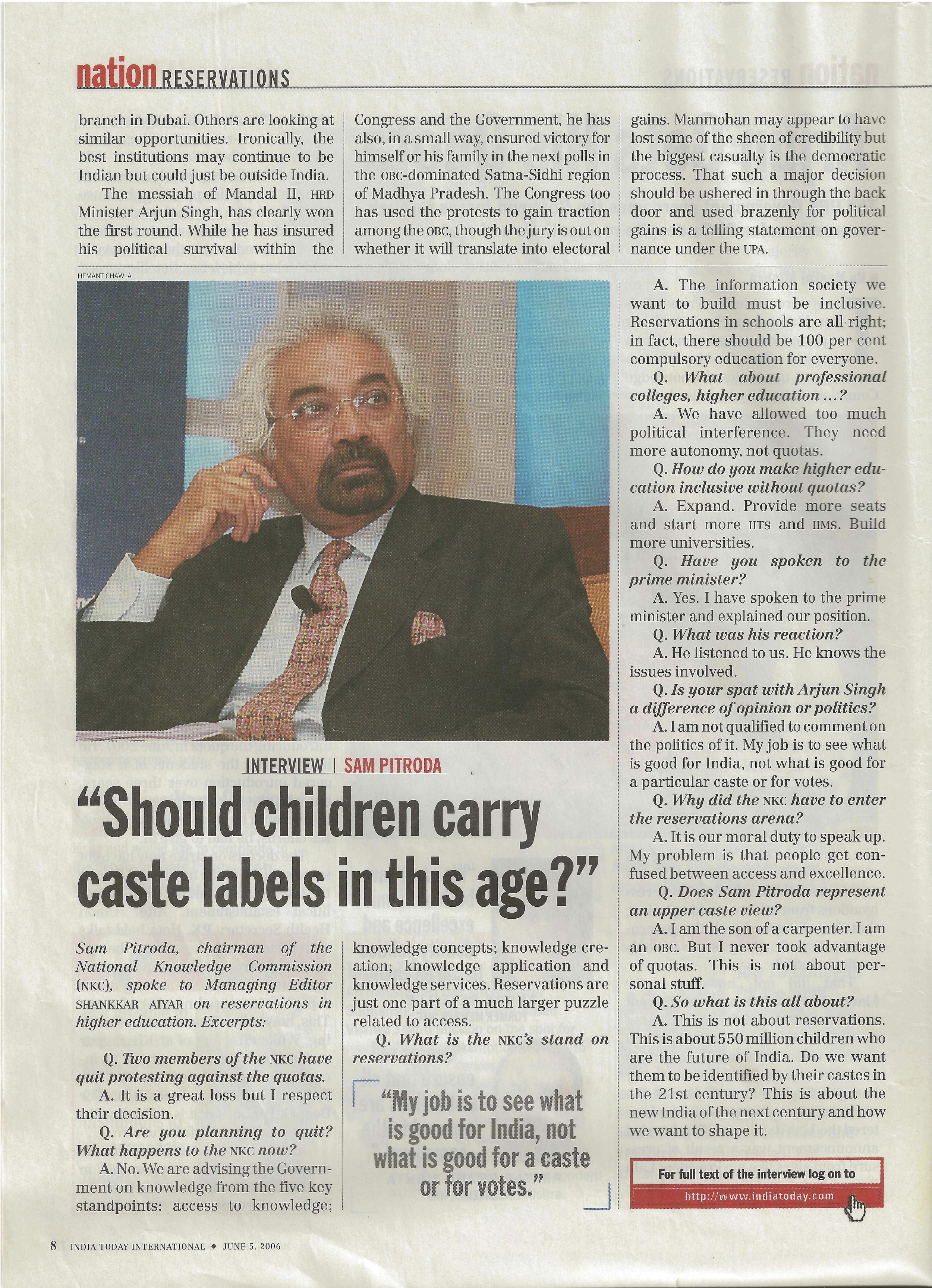 """Should Children Carry Caste Labels in This Age,?"" India Today, 2006"