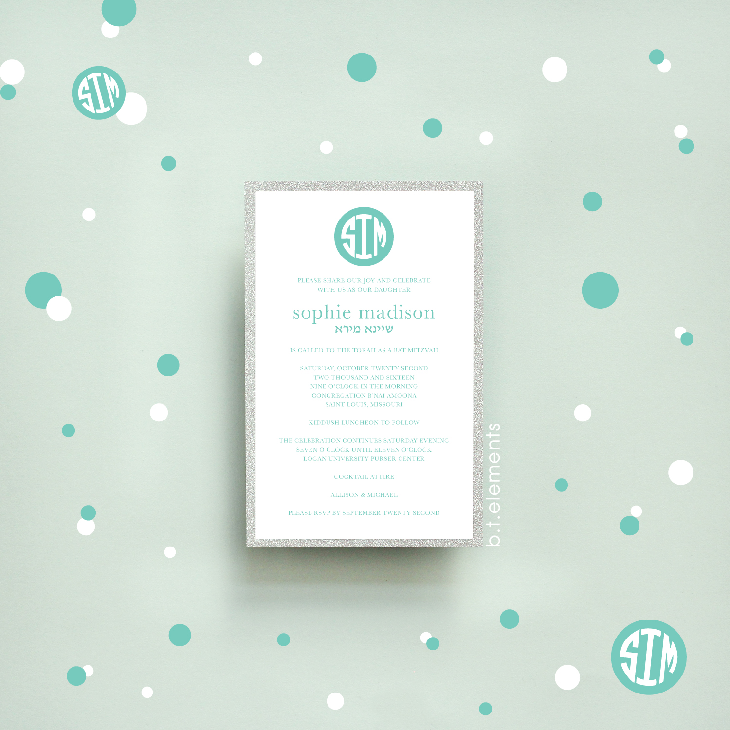 Sophie's Bat Mitzvah Invitation, 2016   Store: Stationery Designs in St. Louis, MO