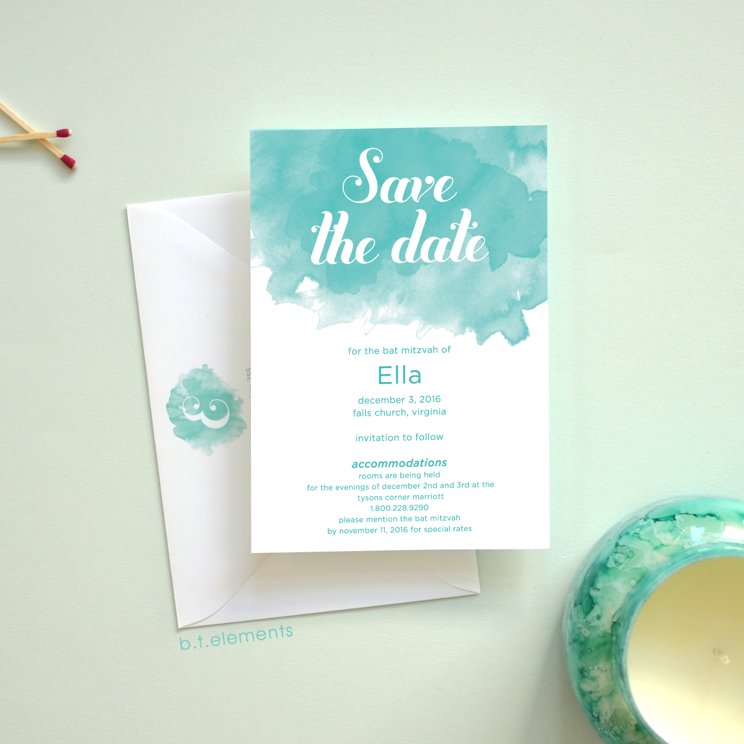 Ella's Bat Mitzvah Save the Date, 2016   Store: The Dandelion Patch in Tysons Corner, VA