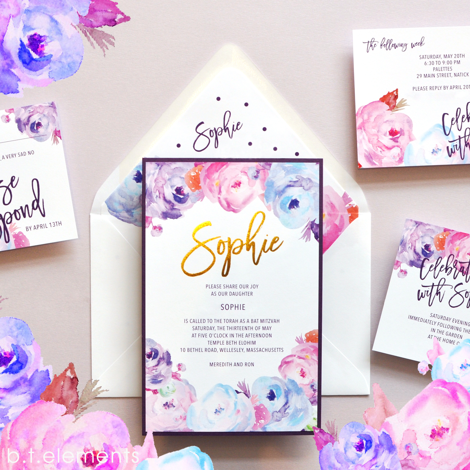 Sophie's Bat Mitzvah Invitation, 2017   Store: Toby Dondis, Ltd. in Waban, MA