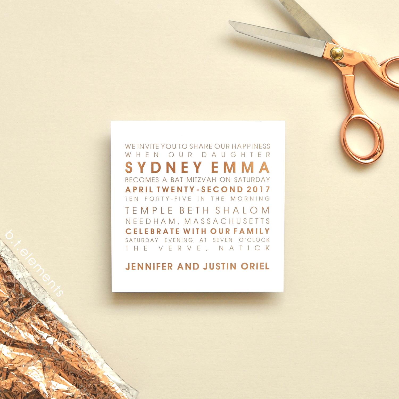 Sydney's Bat Mitzvah Invitation, 2017   Store: Toby Dondis, Ltd. in Waban, MA