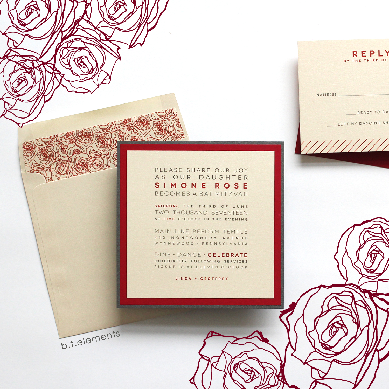 Simone's Bat Mitzvah Invitation, 2017   Store: The Paperia in Ardmore, PA