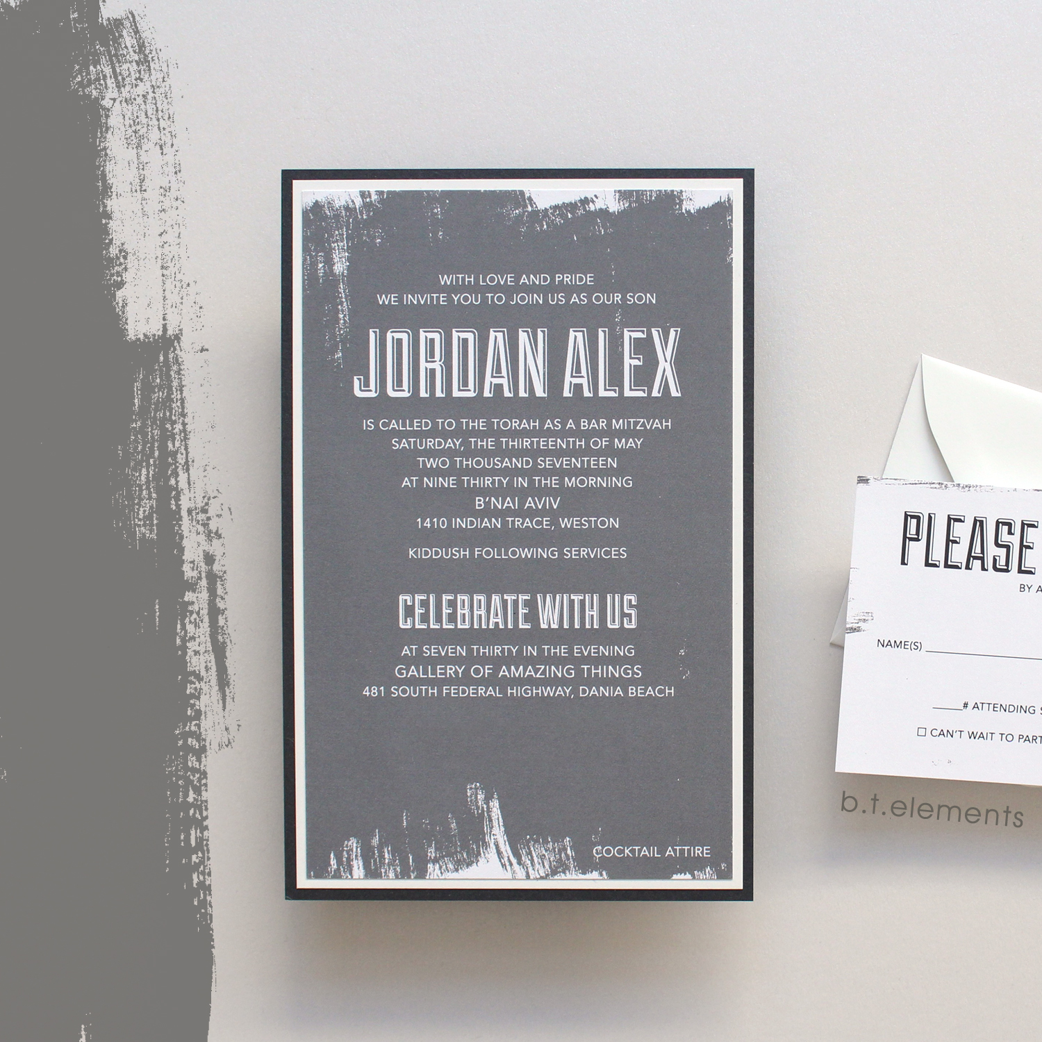 Jordan's Bar Mitzvah Invitation, 2017   Store: Styled Events in Weston, FL