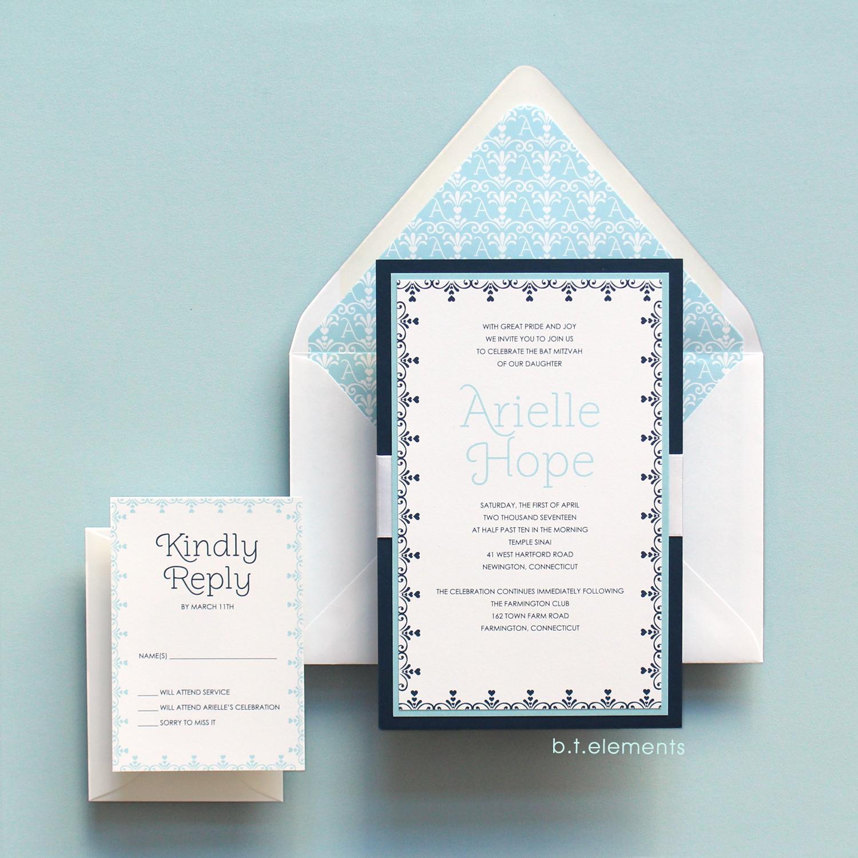 Arielle's Bat Mitzvah Invitation, 2017   Store: Lettres in Avon, CT