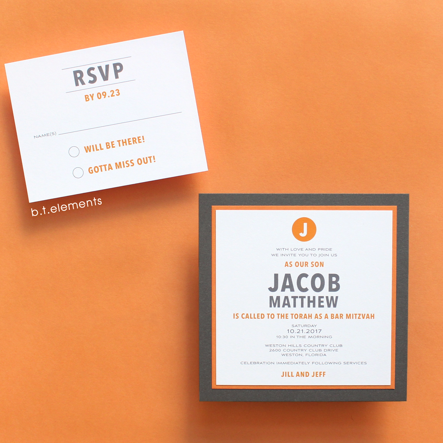 Jacob's Bar Mitzvah Invitation, 2017   Store: Styled Events in Weston, FL