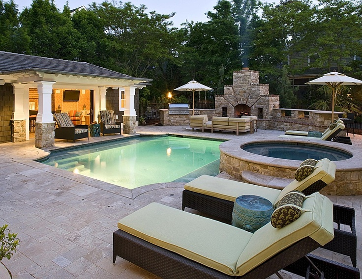 This scene has all the major aspects of a backyard paradise represented, from an outdoor kitchen to a lounge area, you can't go wrong with a backyard like this. Image as seen on cutedecor.info