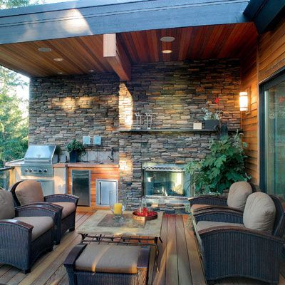 The ability to prepare your meals outside not only allows for great conversational elements but also ties the different zones back together.   Image as seen on finehomebuilding.com