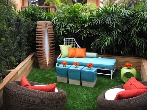This plant wall can be made up of plants ranging in size, shape and fullness. High walls with plant appeal create both shade and privacy. An area like this would make for a great escape in your own backyard room. Image as seen by HGTV.