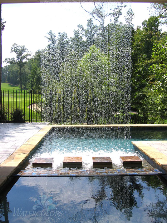 This beautiful example of incorporating water into your backyard room is both serene and is a definite focal point of this backyard space. Even without the addition of a swimming pool, any type of water fountain or stream will help you achieve balance in your backyard room.  Image as seen on   furniturefashion.com