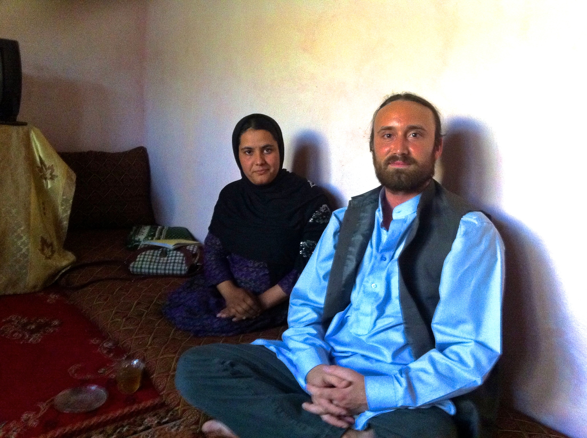 Mahpekay and I having tea in her family's home in central Kabul.