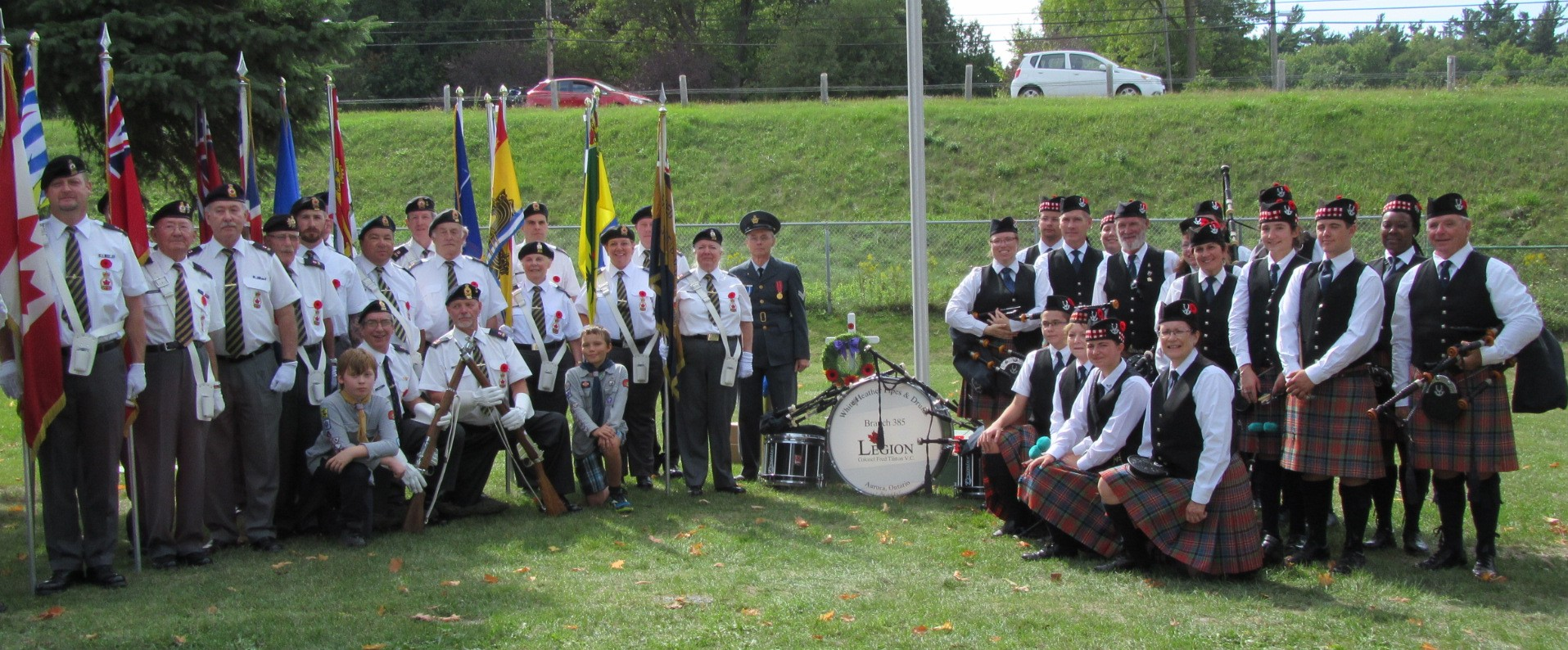 Royal Canadian Legion Branch 385 Colour Party and White Heather Pipes and Drums