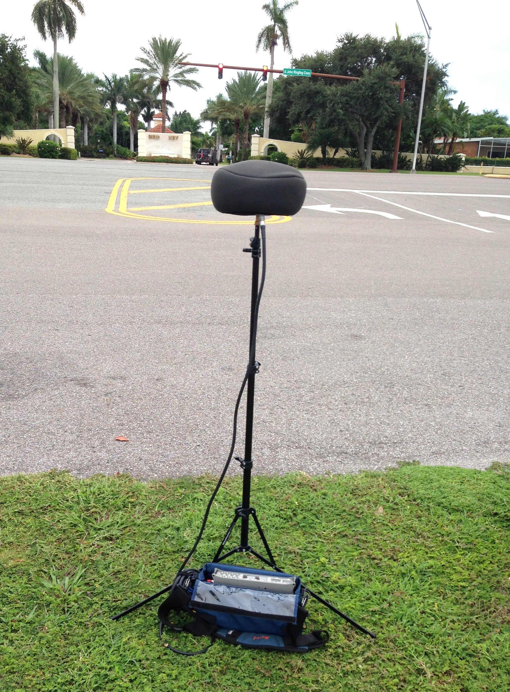 On my  Manfrotto 5001B  light stand is a  DPA 5100  5.1 surround sound mic. This mic has 6 XLR audio cables that were connected to my  Sound Device 788T-SSD  field recorder.