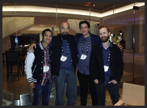 Me hanging with some Røde peeps. Left is Timothy, Me, Ryan, and Robert at Røde Show 2015.
