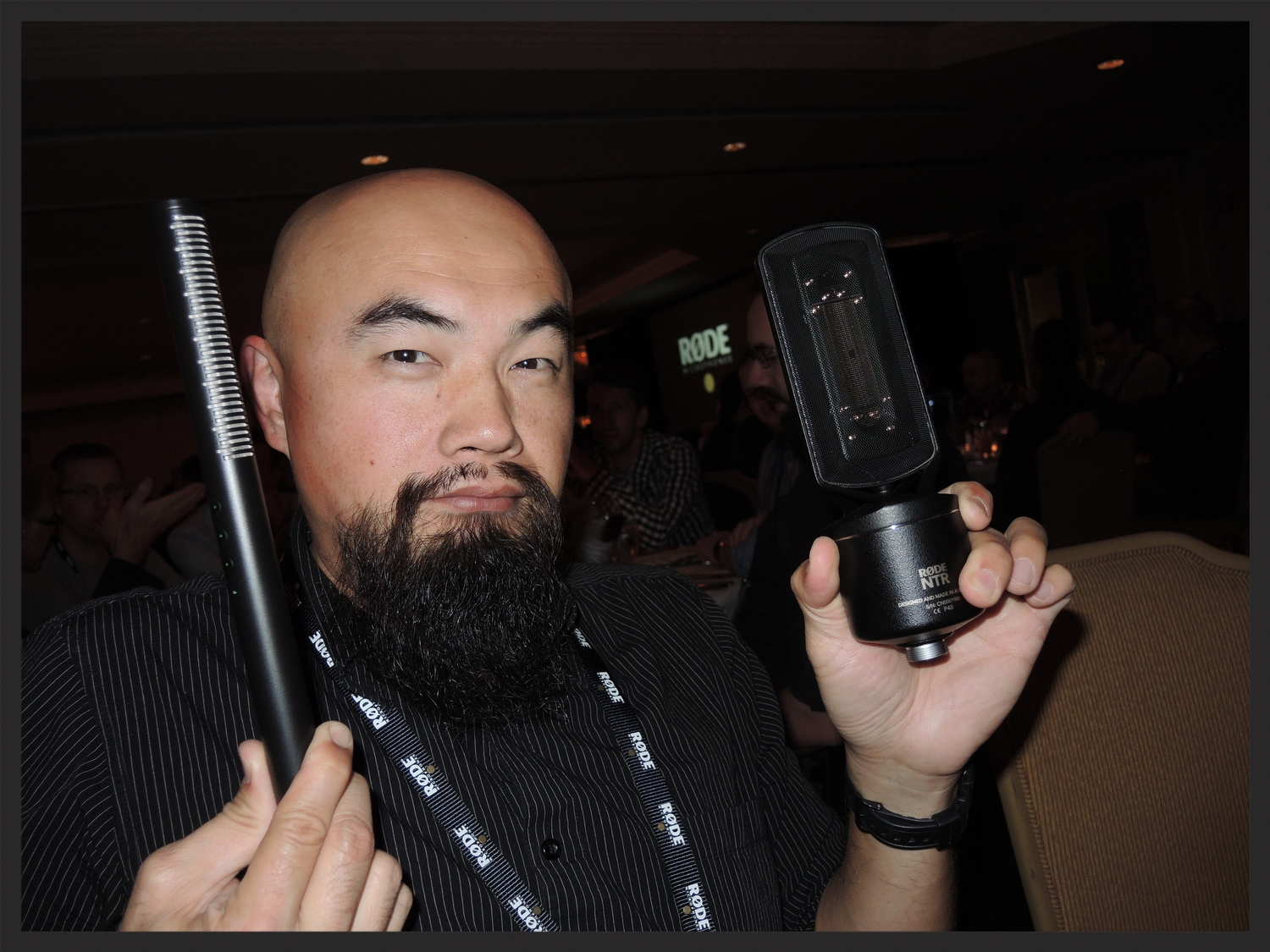 Me holding the new  NTG4+ shotgun  and  NTR ribbon  RØDE microphones. I approve!!