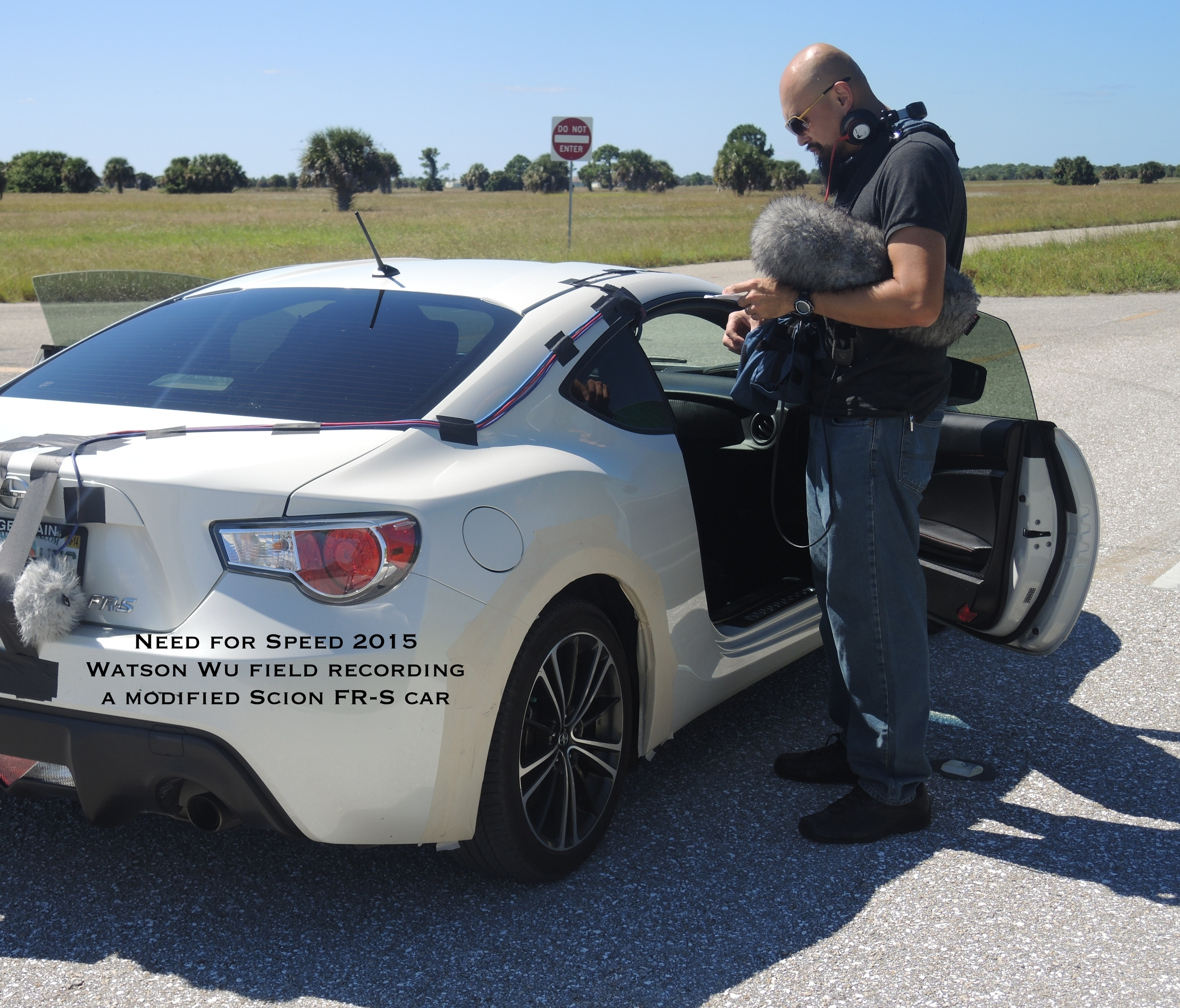Watson going over the check list of field recording this modified Scion FR-S sports car.