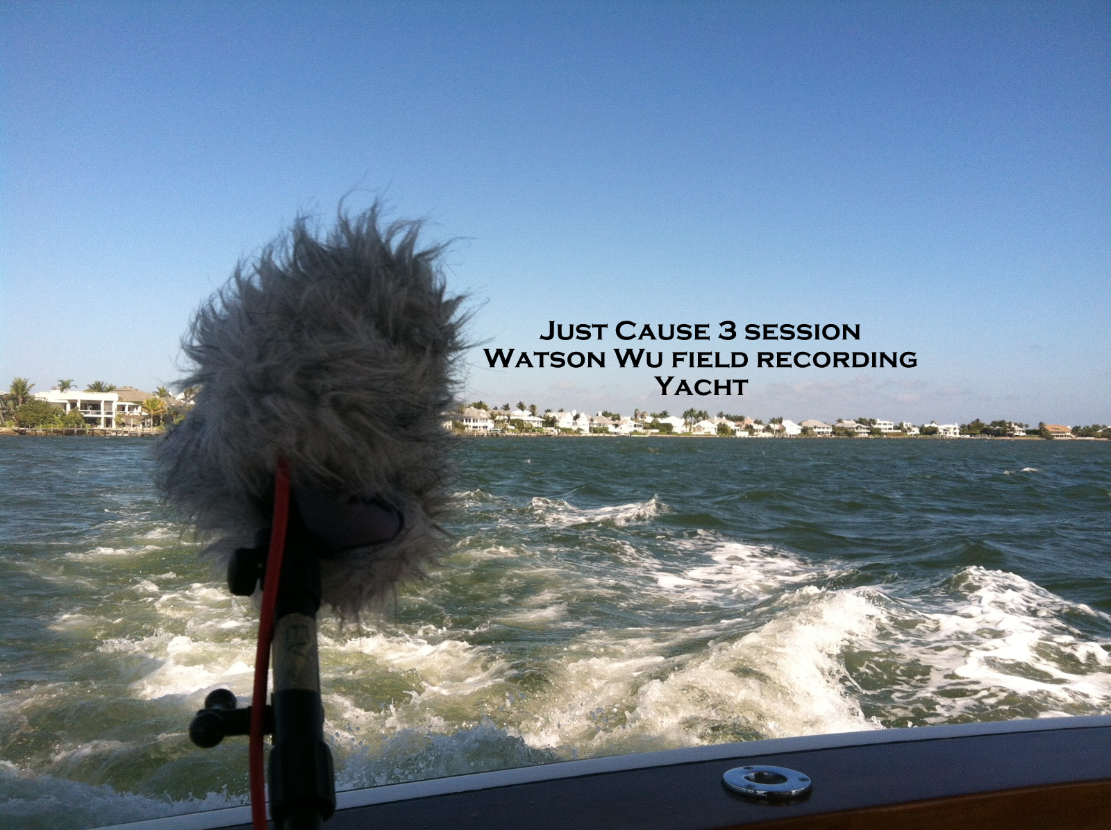 Field recording a yacht. This was the hardest session I have ever conducted. I got sea sick and was throwing up on the side of the ship. I've never been sick from being on a ship but I guess the diesel fumes and the swaying got to me. For the love of field recording, I kept going! The only thing that worried me was that my puking sounds may have ruined the recordings. Fortunately, during playback, I couldn't hear those unwanted nasty sounds.