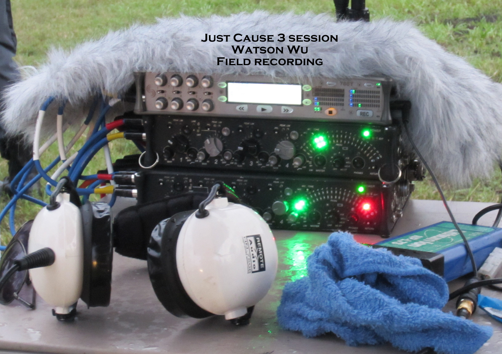 Field Recording Gear: Sound Devices 788T-SSD 8 track recorder, two 442 field mixers, and Remote Audio super headphones. The Rode Dead Wombat (fur) was used as protection from light rain.