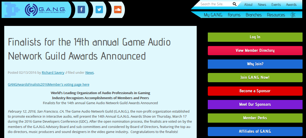 The Annual Game Audio Network Guild Awards (G.A.N.G. - AudioGang.org)