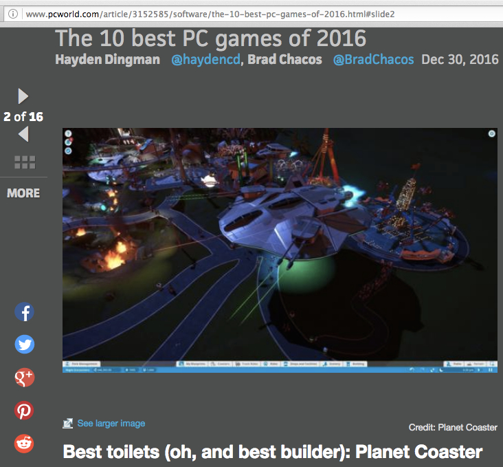 PC WORLD  NAMES  PLANET COASTER  AS A TOP 10 GAME FOR 2016!