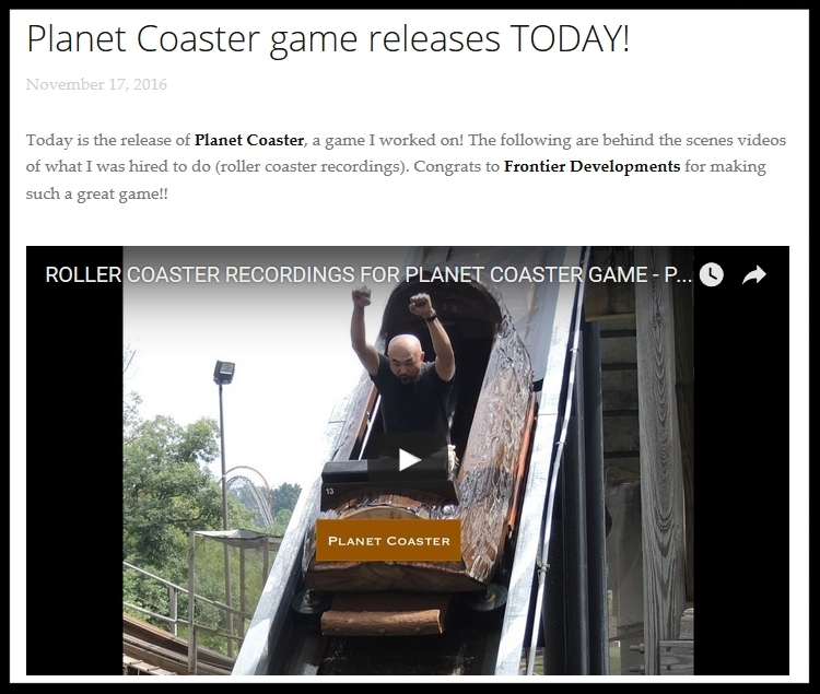 Click   HERE   to see how roller coaster sounds were recorded for Planet Coaster game.