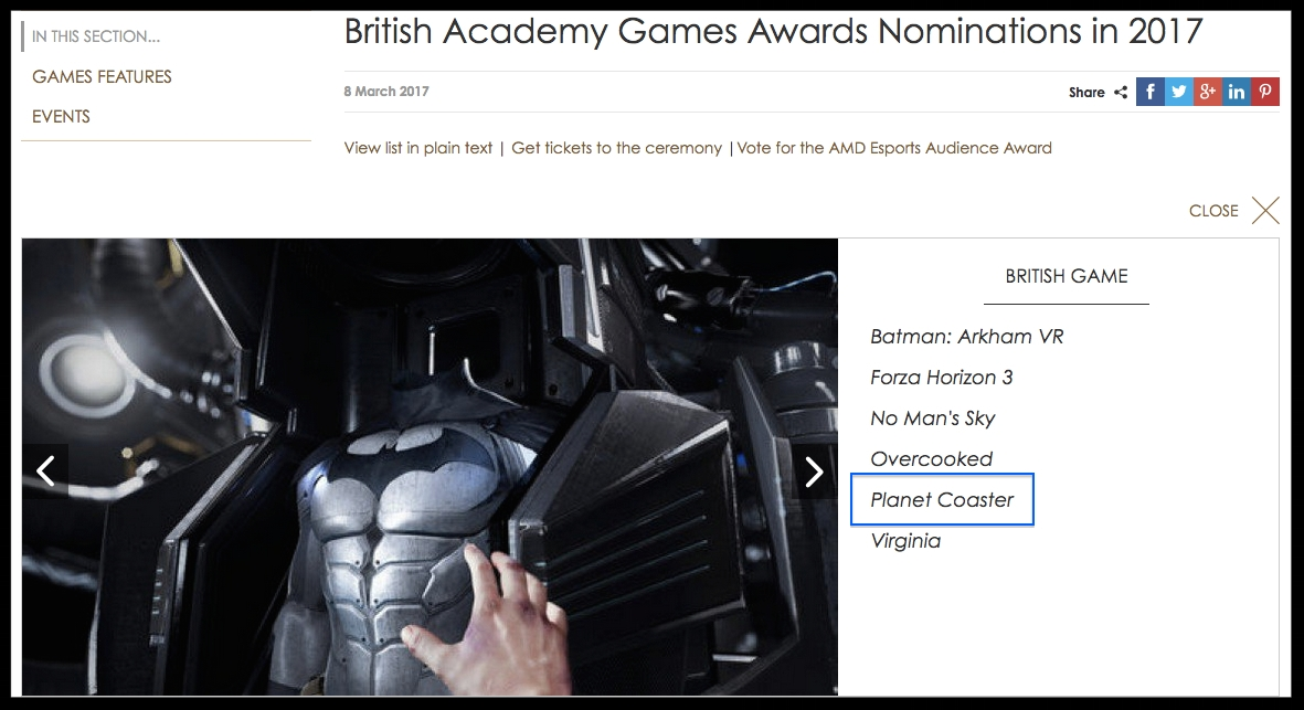PLANET COASTER - BAFTA NOMINATION FOR BEST BRITISH GAME