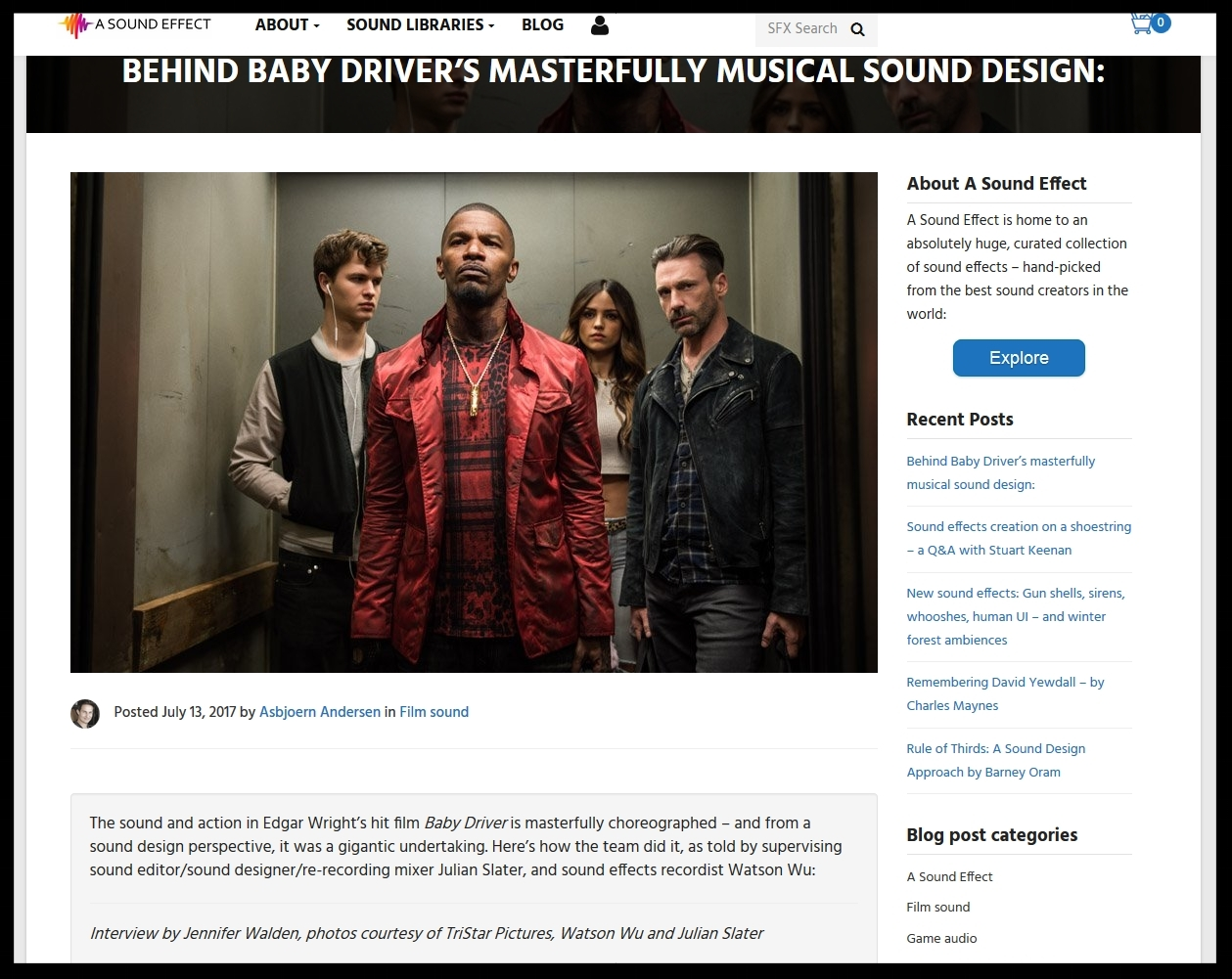 Our featured audio work in Baby Driver, a film by Edgar Wright