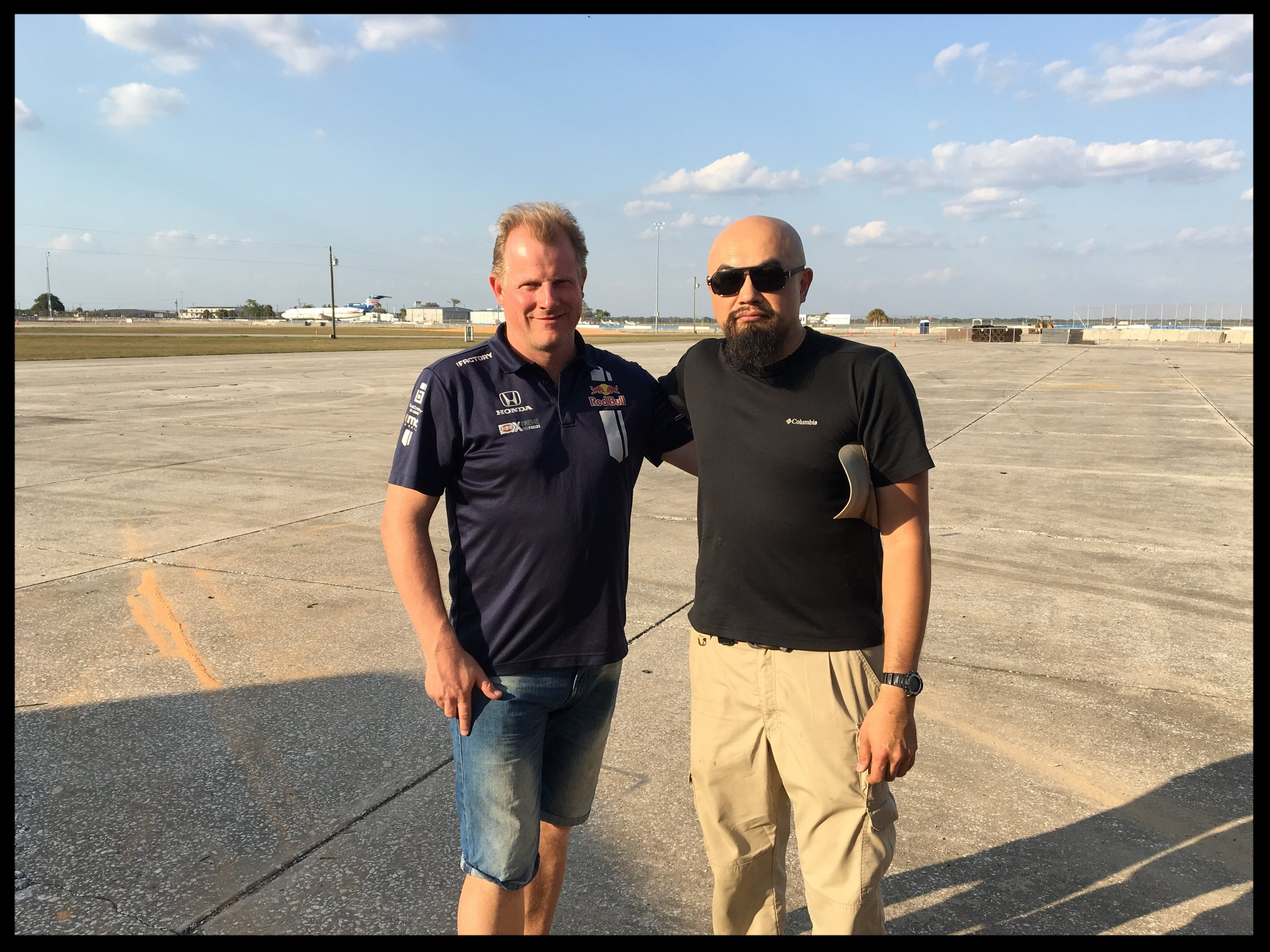 ME WITH OMSE RACE TEAM OWNER ANDREAS ERIKKSON AT SEBRING RACEWAY. ANDREAS WAS QUITE GENEROUS WITH US AND HIS INCREDIBLE SPEEDY TEAM HELPED ME RIG UP MY MULTIPLE MICROPHONES AND CABLES. THANK YOU ANDREAS AND TEAM!!