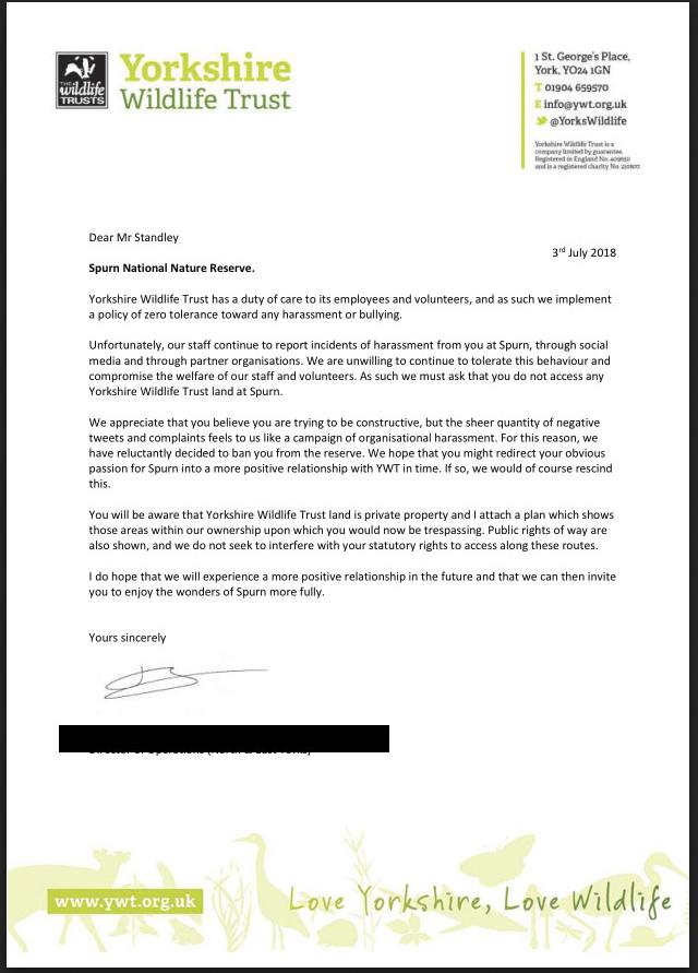 YWT Banning Letter