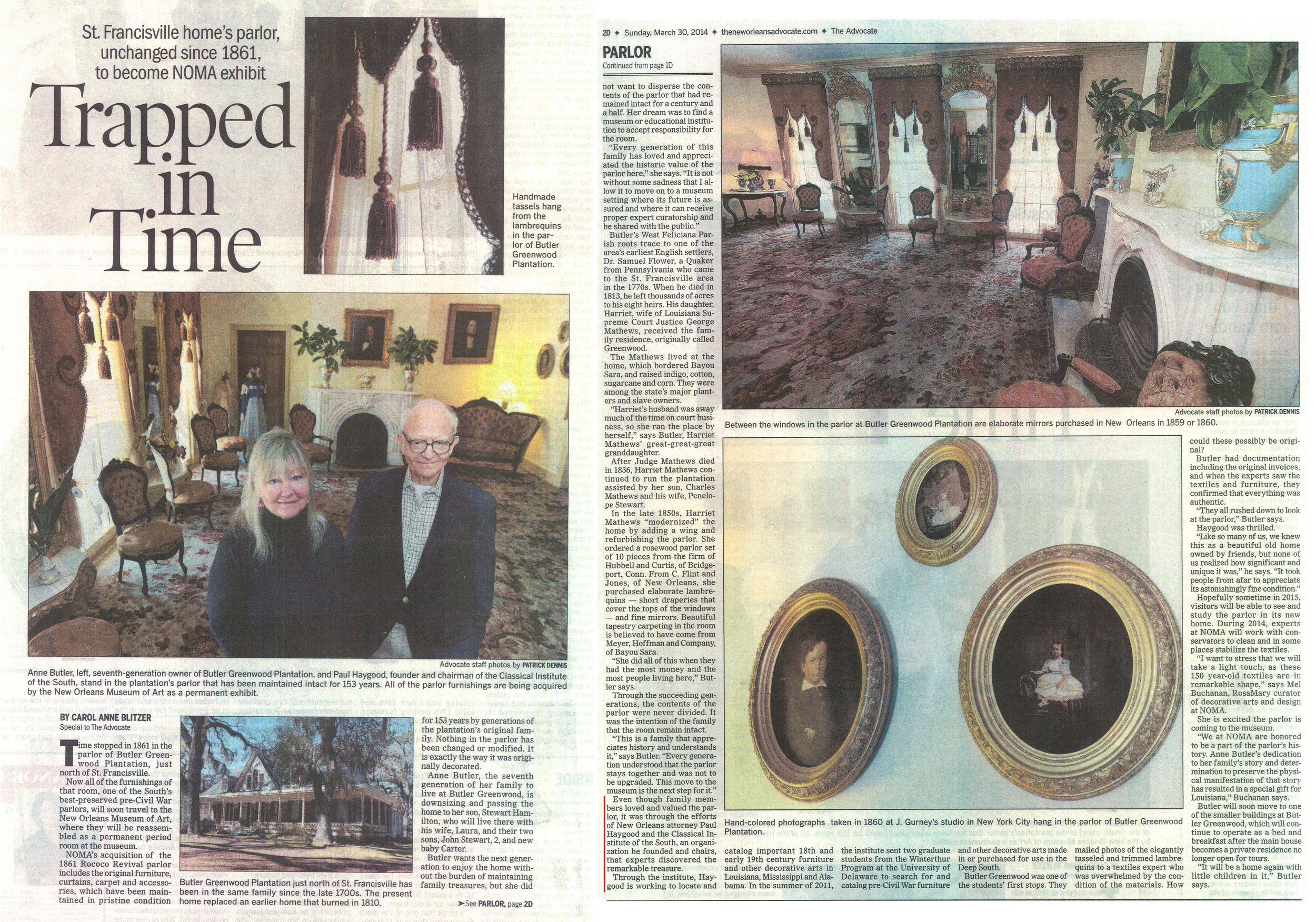The New Orleans Advocate also covered NOMA's acquisition of the Butler Greenwood parlor and CIS' role in documention and preservaton of the room.An identical article appeared the same day in the Baton Rouge edition of the Advocate.  http://theadvocate.com/features/people/8520770-123/st-francisville-homes-parlor-to