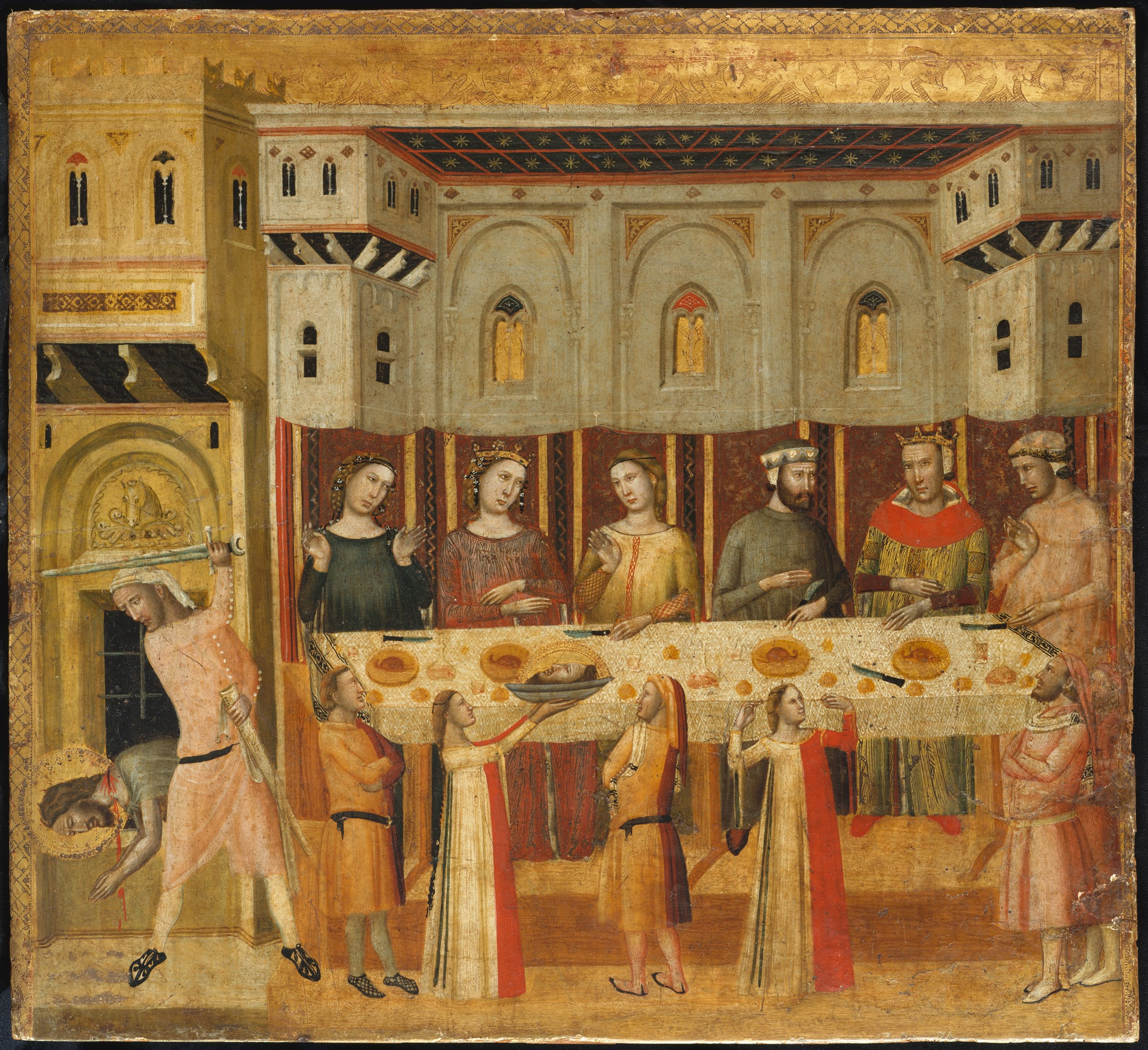 "Giovanni Baronzio, ""The Feast of Herod and the Beheading of the Baptist"""